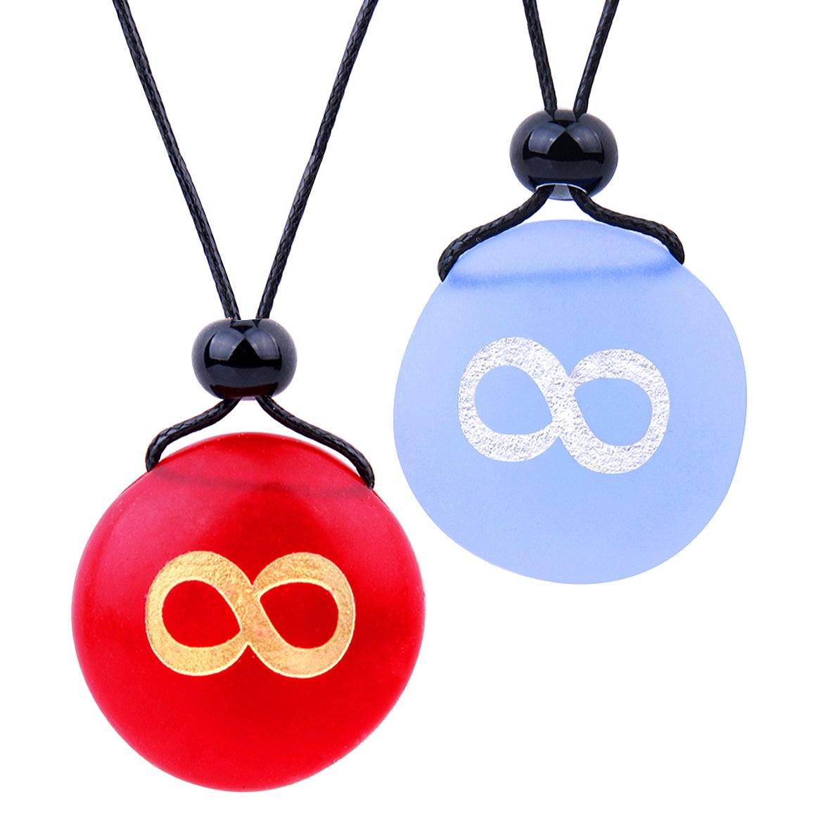Frosted Sea Glass Stones Infinity Eternity Energy Love Couples BFF Set Amulets Sky Blue Red Necklaces