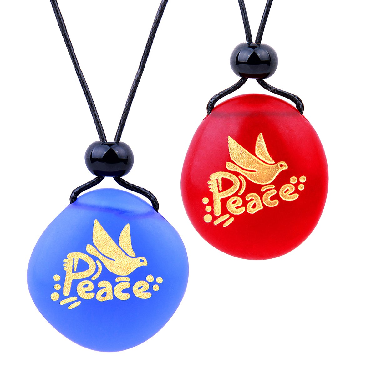 Frosted Sea Glass Stones Adorable Dove Peace Pigeon Love Couples BFF Set Amulets Royal Blue Red Necklaces