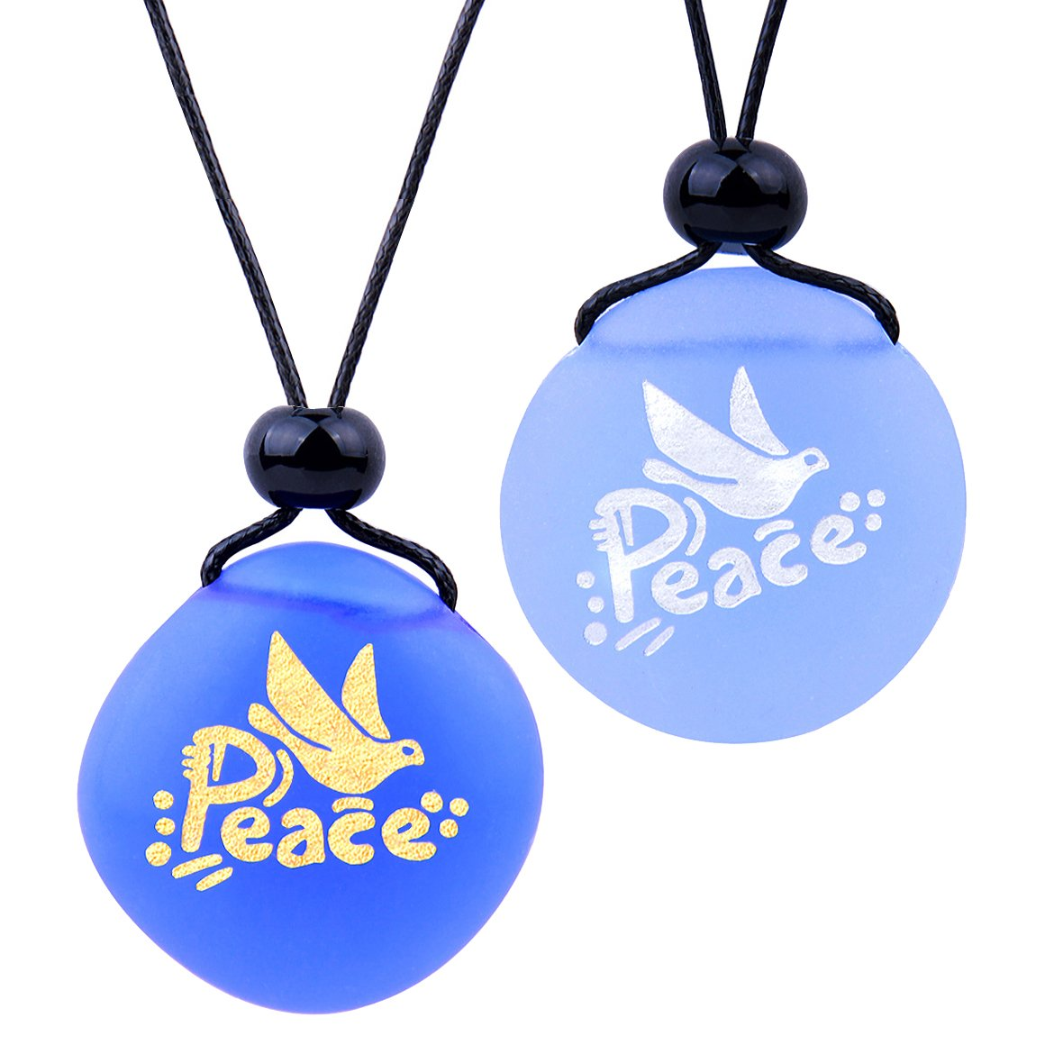 Frosted Sea Glass Stones Adorable Dove Peace Pigeon Love Couples BFF Set Amulets Sky Royal Blue Necklaces
