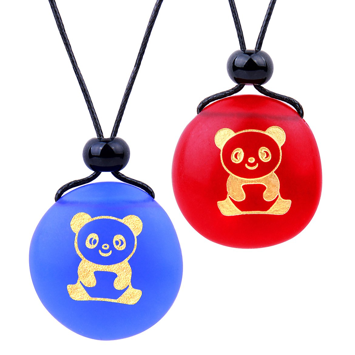 Frosted Sea Glass Stones Cute Lucky Baby Panda Love Couples BFF Set Amulets Royal Blue Red Necklaces