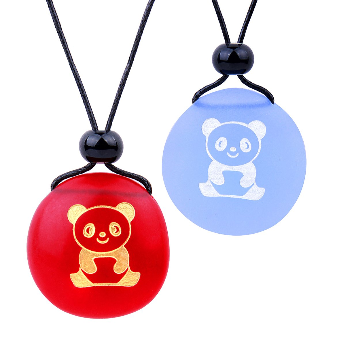 Frosted Sea Glass Stones Cute Lucky Baby Panda Love Couples BFF Set Amulets Sky Blue Red Necklaces