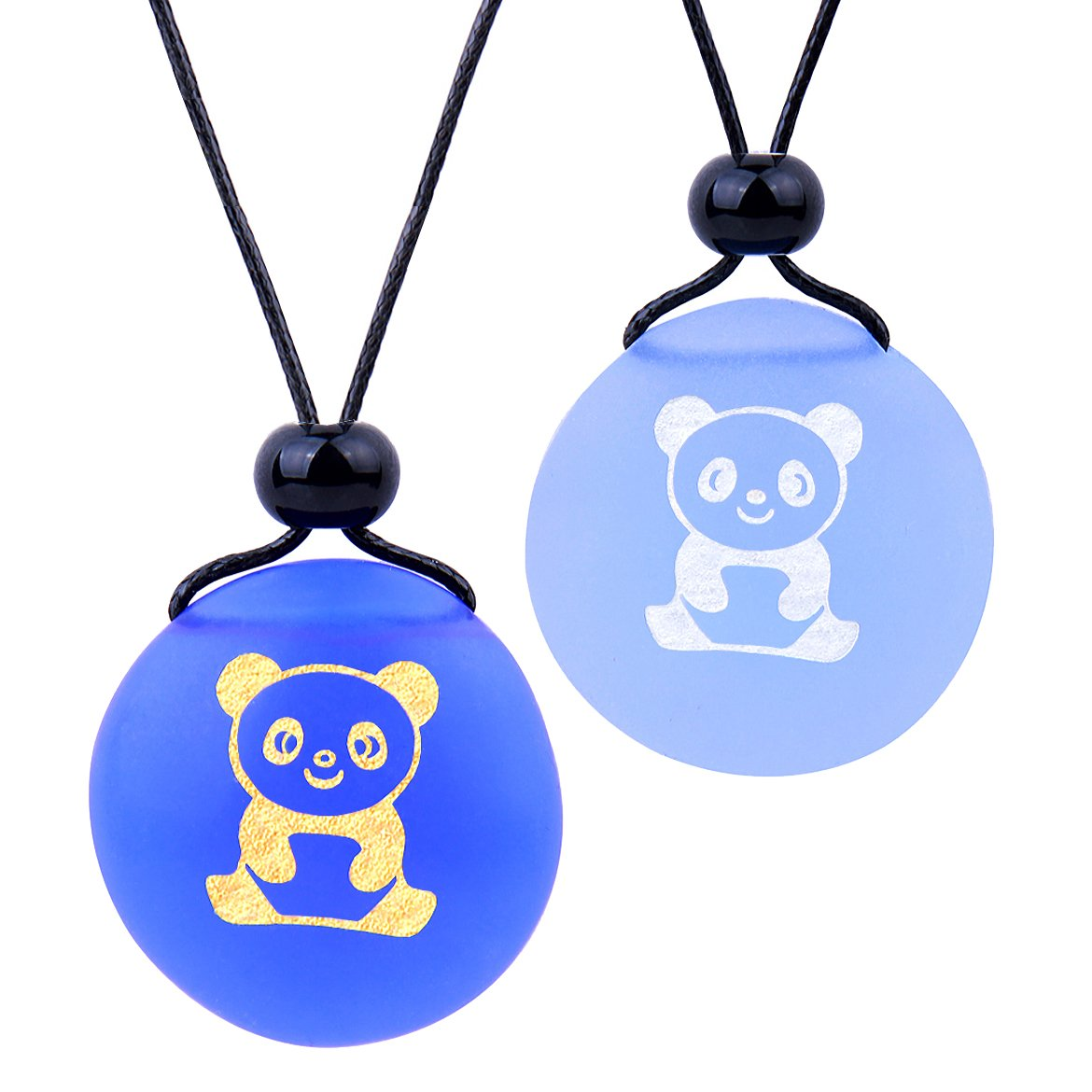 Frosted Sea Glass Stones Cute Lucky Baby Panda Love Couples BFF Set Amulets Sky Royal Blue Necklaces