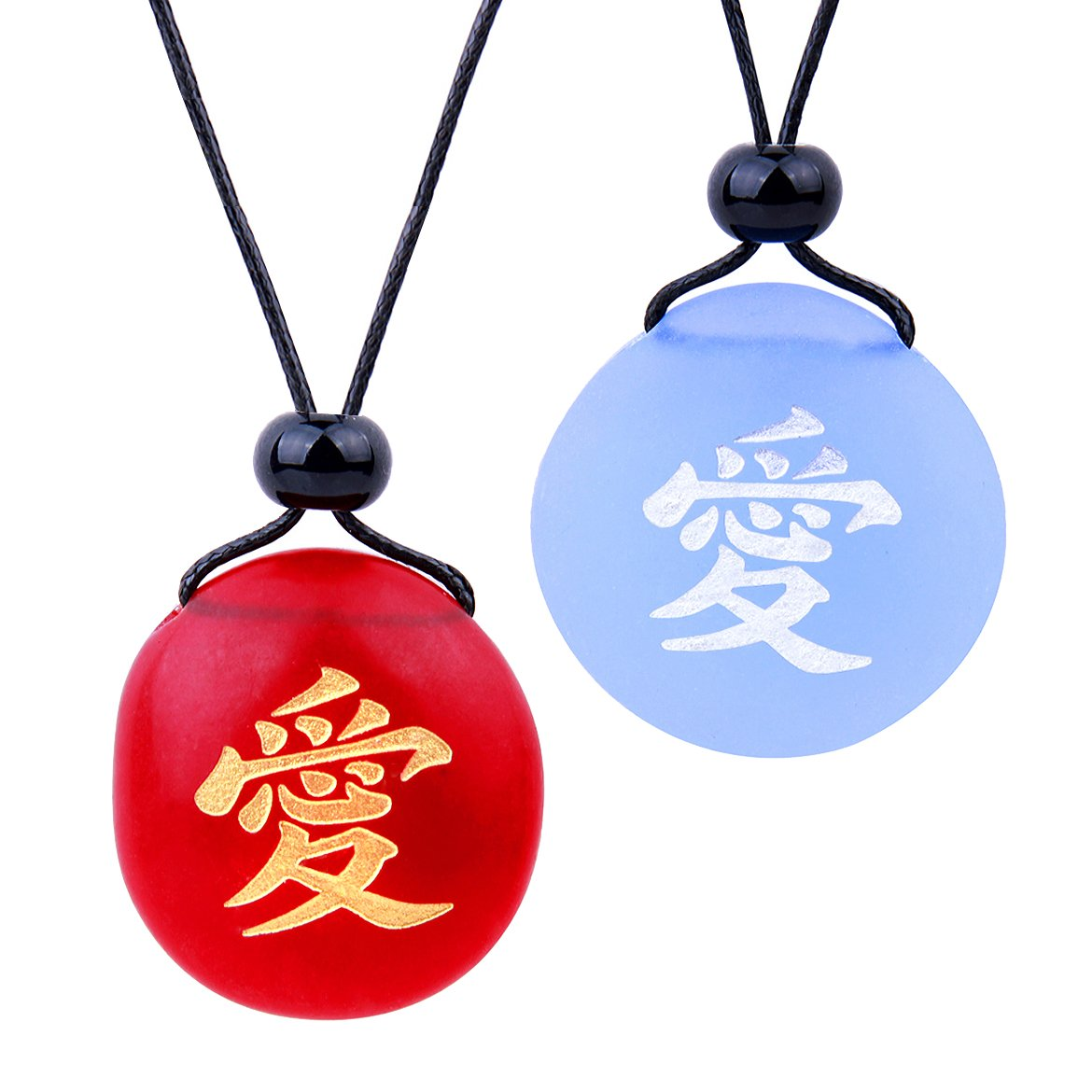 Frosted Sea Glass Stones Universal Mutual Love Kanji Love Couples BFF Amulets Sky Blue Red Necklaces