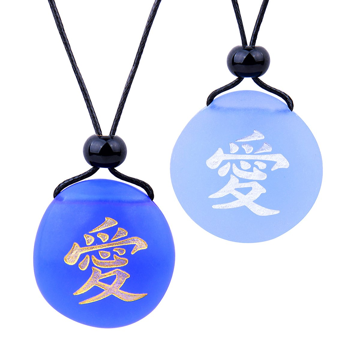 Frosted Sea Glass Stones Universal Mutual Love Kanji Love Couples BFF Amulets Sky Royal Blue Necklaces