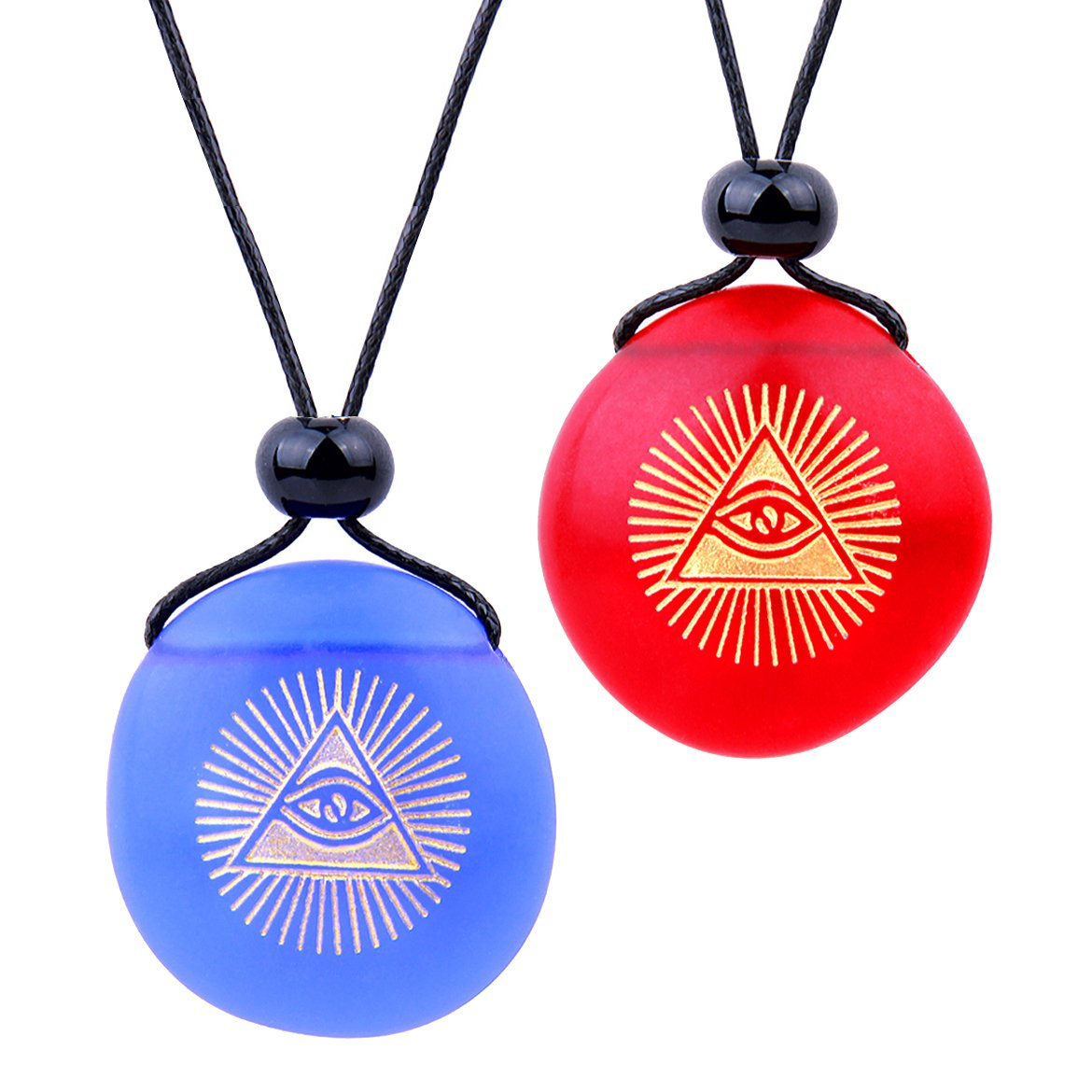 Frosted Sea Glass Stones Magic All Seeing Eye of God Love Couples BFF Amulets Royal Blue Red Necklaces