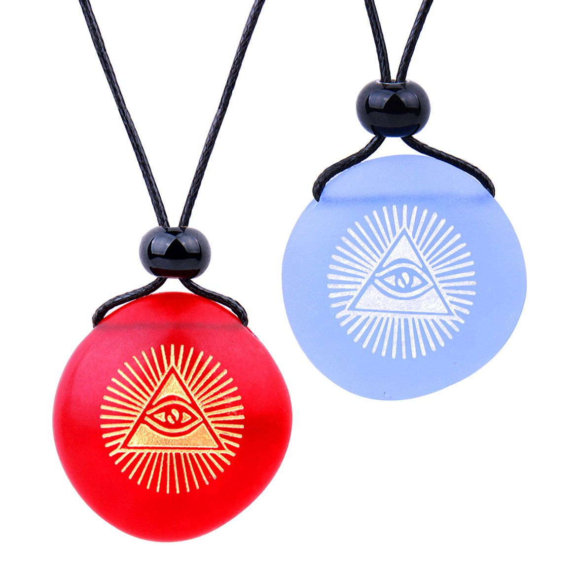 Frosted Sea Glass Stones Magic All Seeing Eye of God Love Couples BFF Amulets Sky Blue Red Necklaces