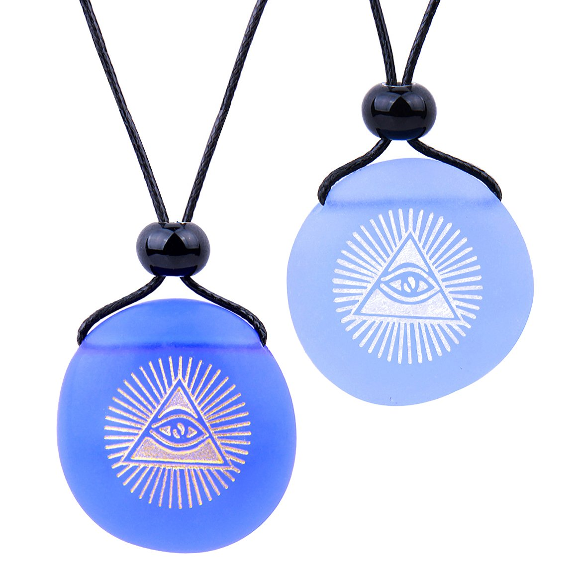 Frosted Sea Glass Stones Magic All Seeing Eye of God Love Couples BFF Amulets Sky Royal Blue Necklaces