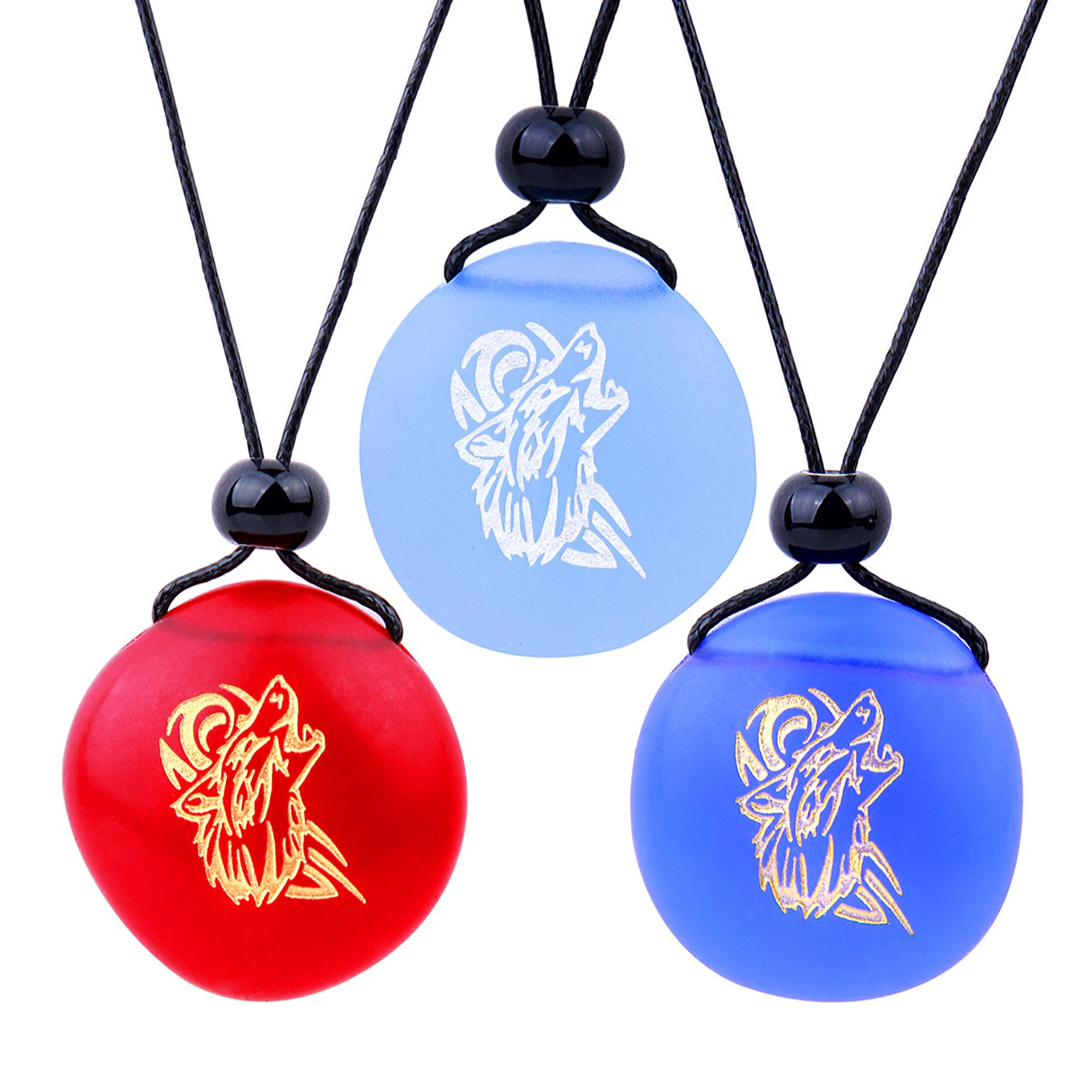 Frosted Sea Glass Stones Celtic Howling Wolf Best Friends BFF Set Amulets Royal Sky Blue Red Necklaces