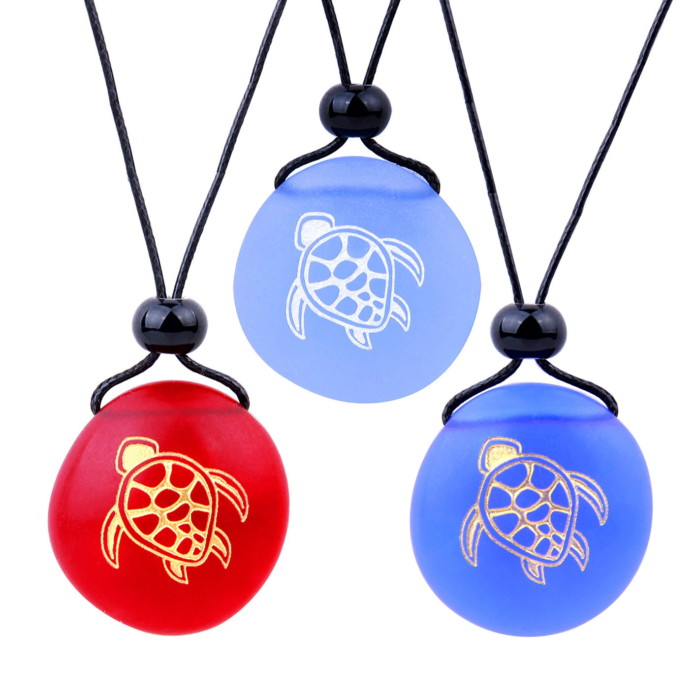 Frosted Sea Glass Stones Adorable Magic Turtle Best Friends BFF Set Amulets Royal Sky Blue Red Necklaces