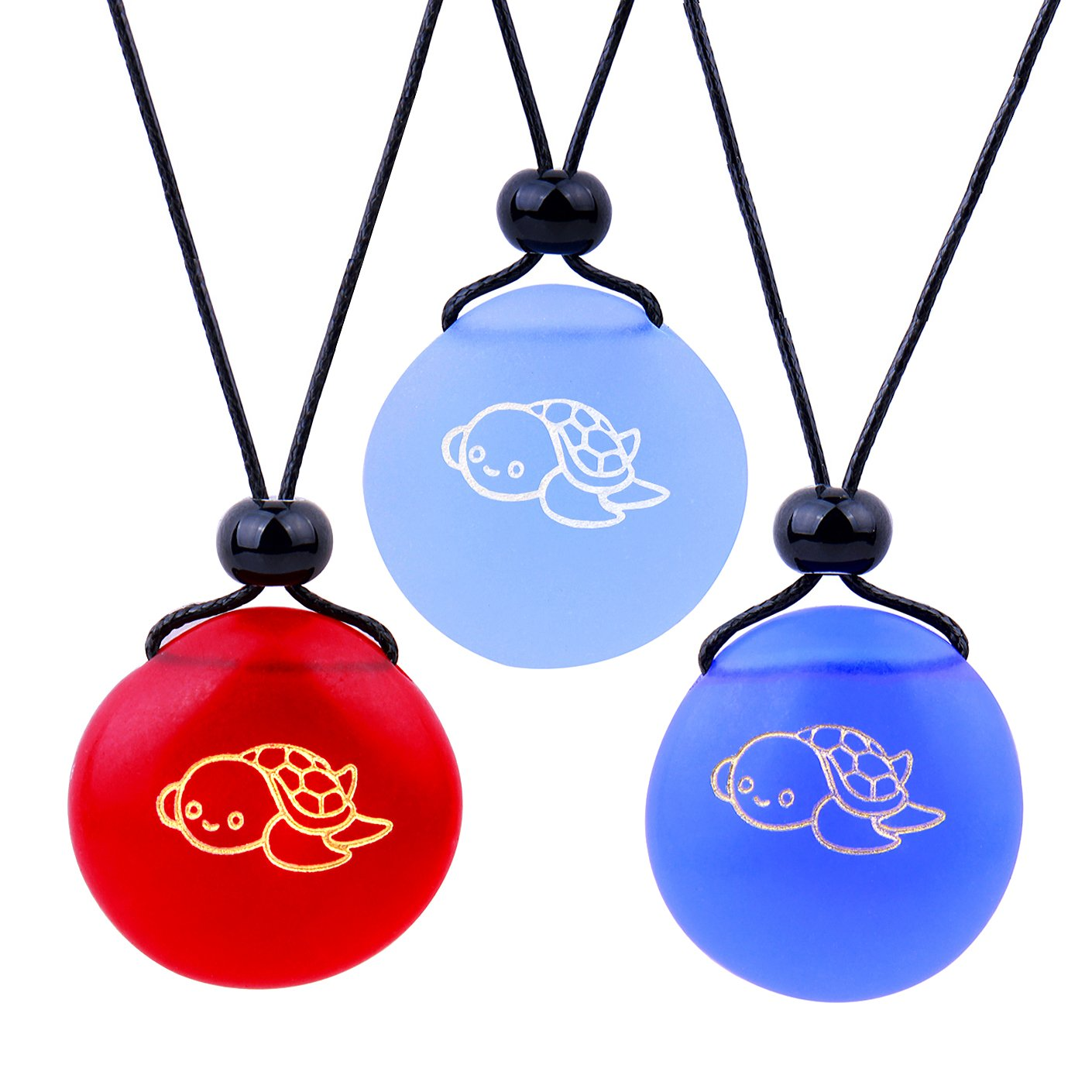 Frosted Sea Glass Stones Adorable Baby Turtle Best Friends BFF Set Amulets Royal Sky Blue Red Necklaces