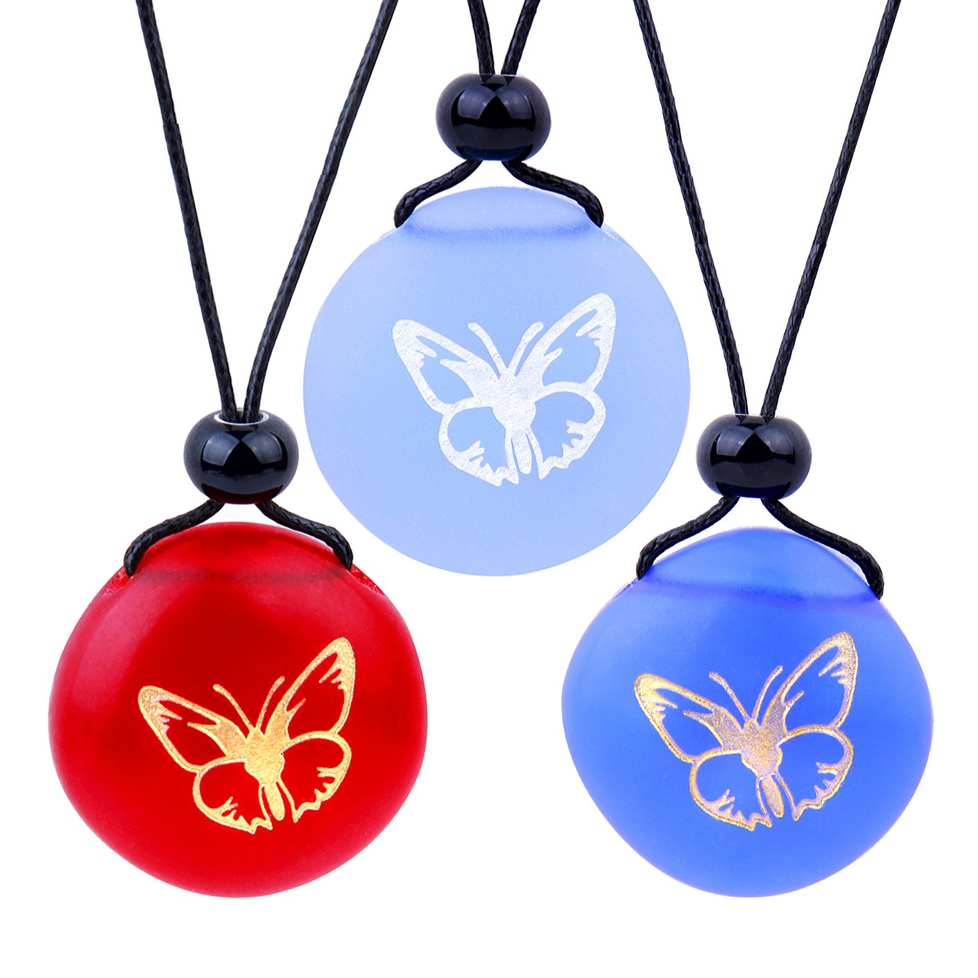 Frosted Sea Glass Stones Adorable Lucky Butterfly Best Friends BFF Amulets Royal Sky Blue Red Necklaces