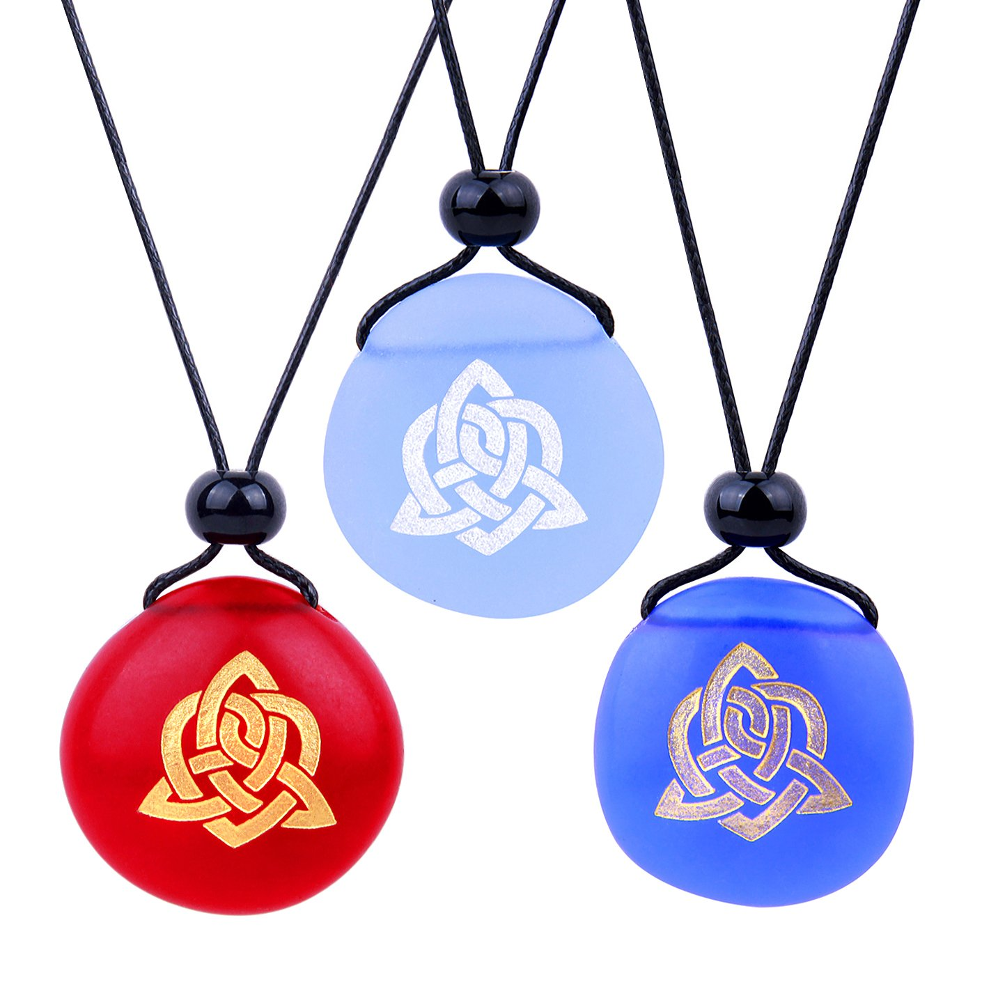 Frosted Sea Glass Stones Magic Celtic Triquetra Best Friends BFF Set Amulets Royal Sky Blue Red Necklaces