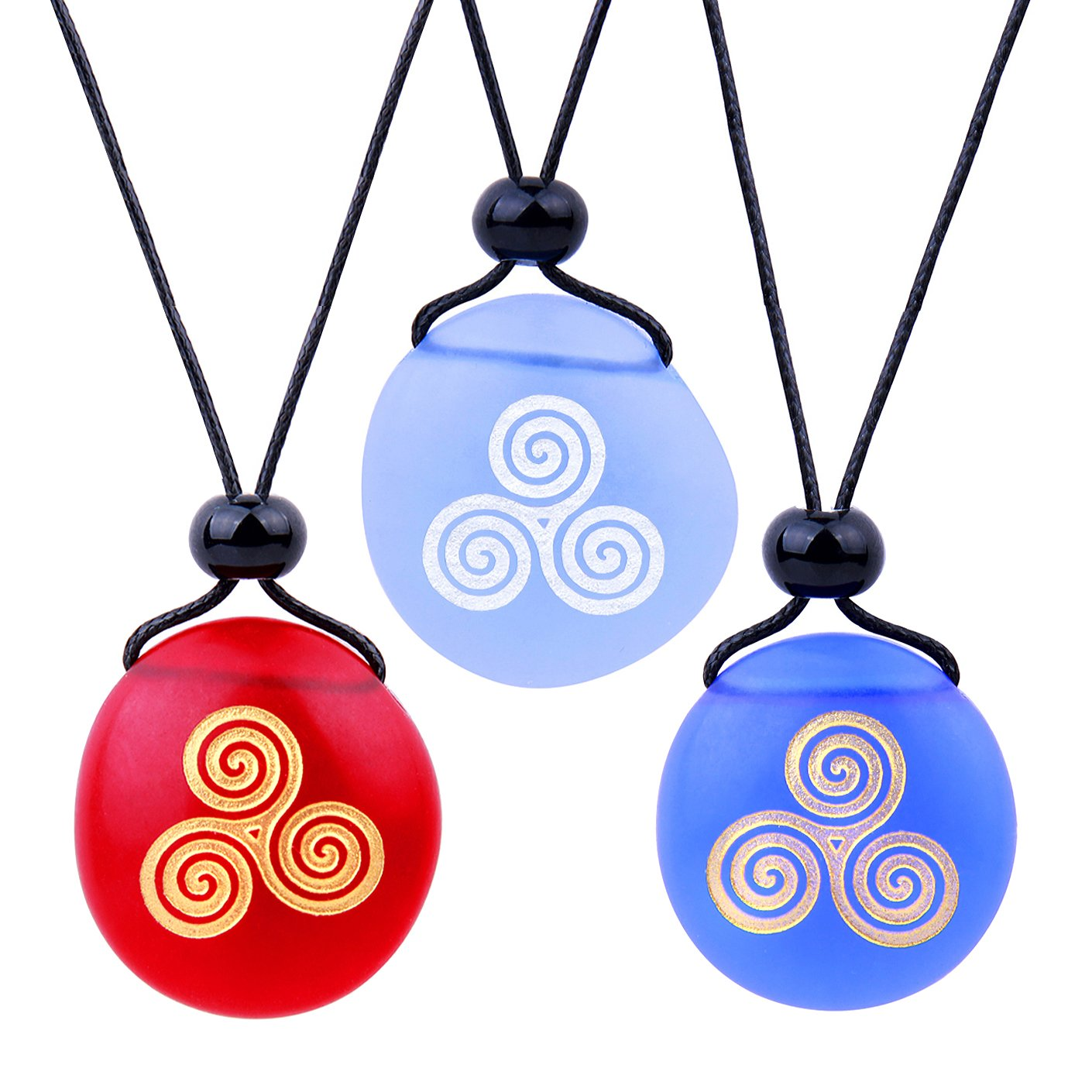 Frosted Sea Glass Stones Spirit of Life Goddess Knot Best Friends BFF Amulet Royal Sky Blue Red Necklaces