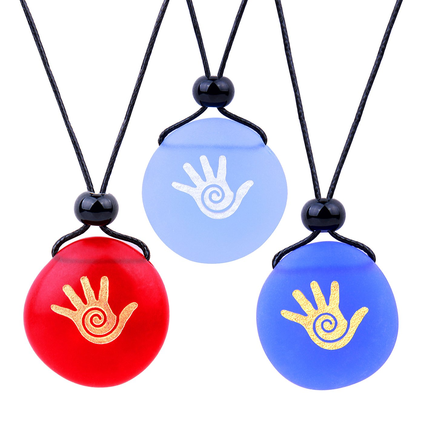 Frosted Sea Glass Stones Buddha Magic Energy Hand Best Friends BFF Amulets Royal Sky Blue Red Necklaces