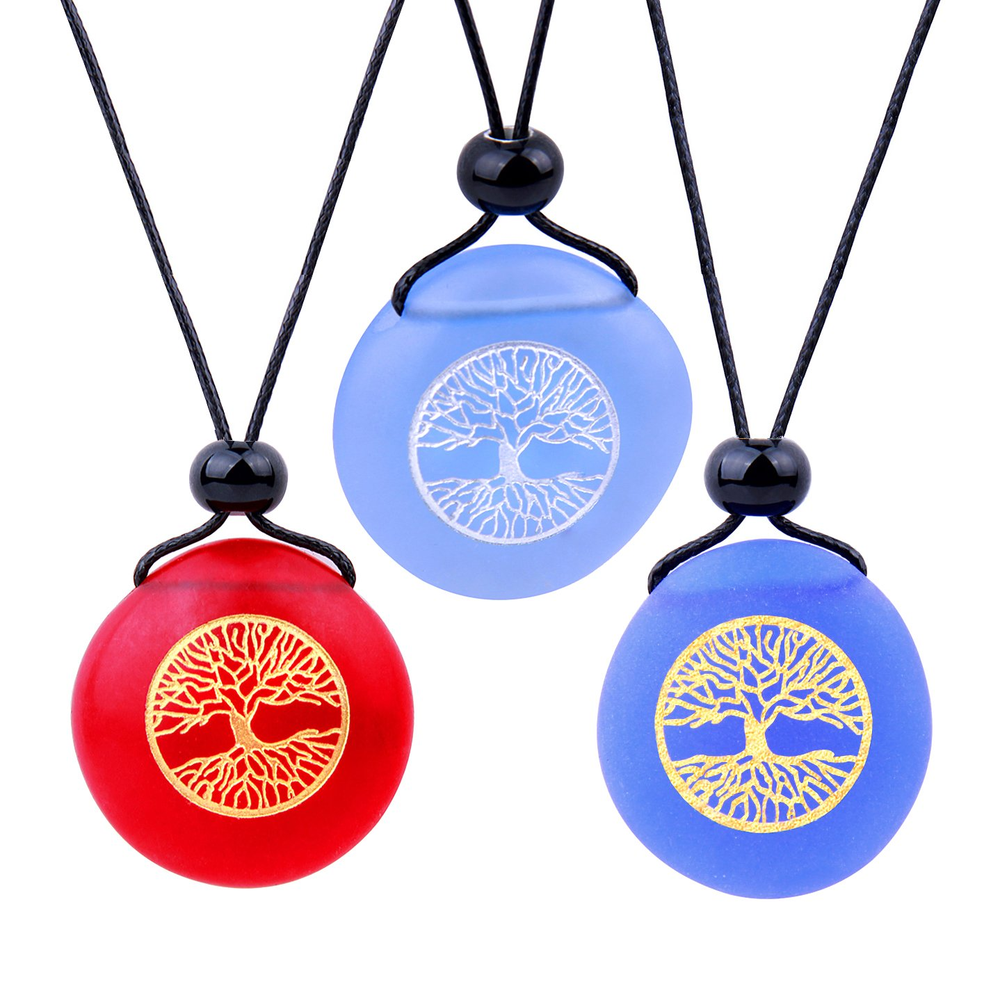 Frosted Sea Glass Stones Celtic Magic Tree of Life Best Friends BFF Amulets Royal Sky Blue Red Necklaces