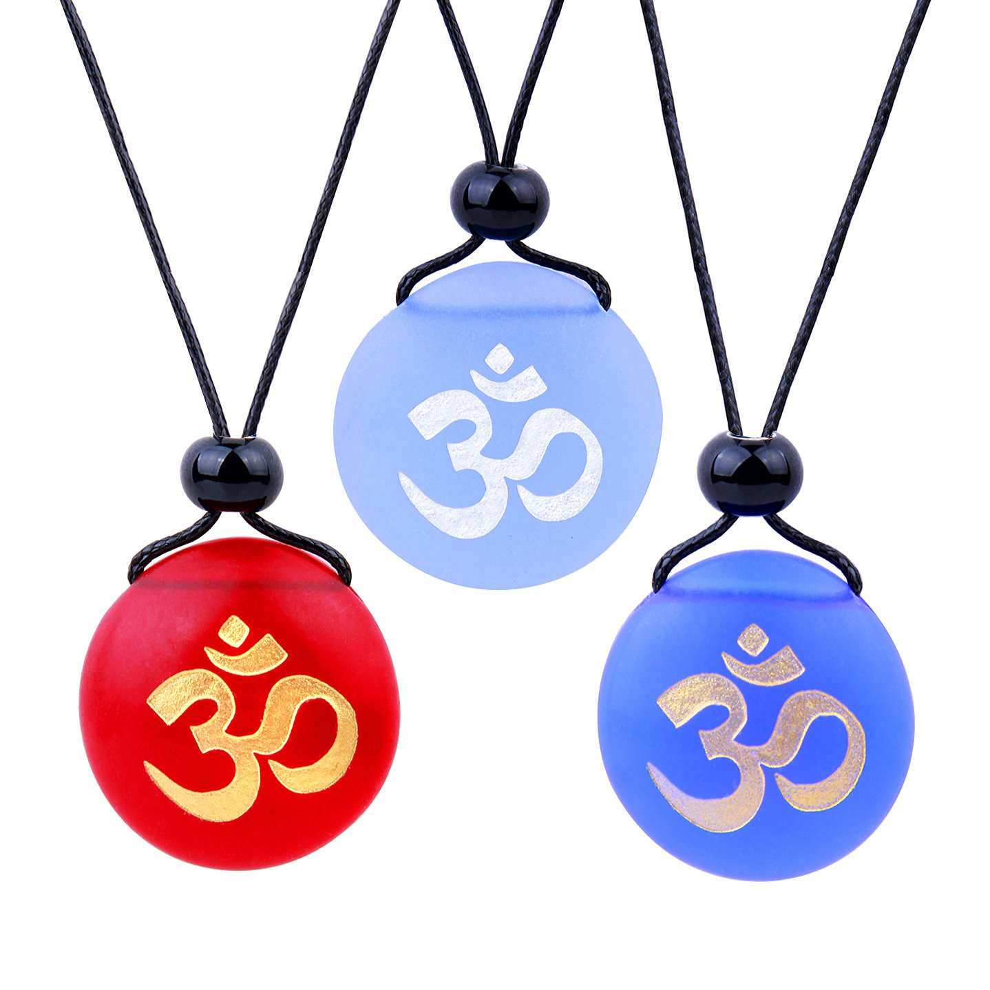 Frosted Sea Glass Stones Ancient Tibetan Om Ohm Best Friends BFF Amulets Royal Sky Blue Red Necklaces