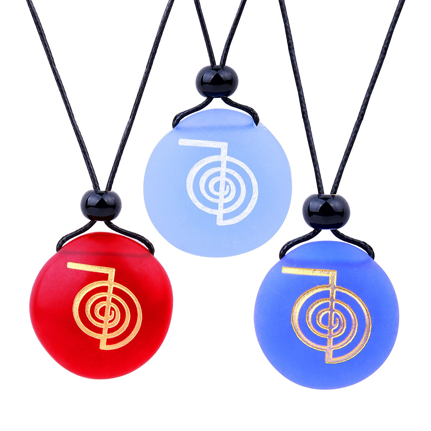 Frosted Sea Glass Stones Choku Rei Reiki Energy Ohm Best Friends BFF Amulets Royal Sky Blue Red Necklaces