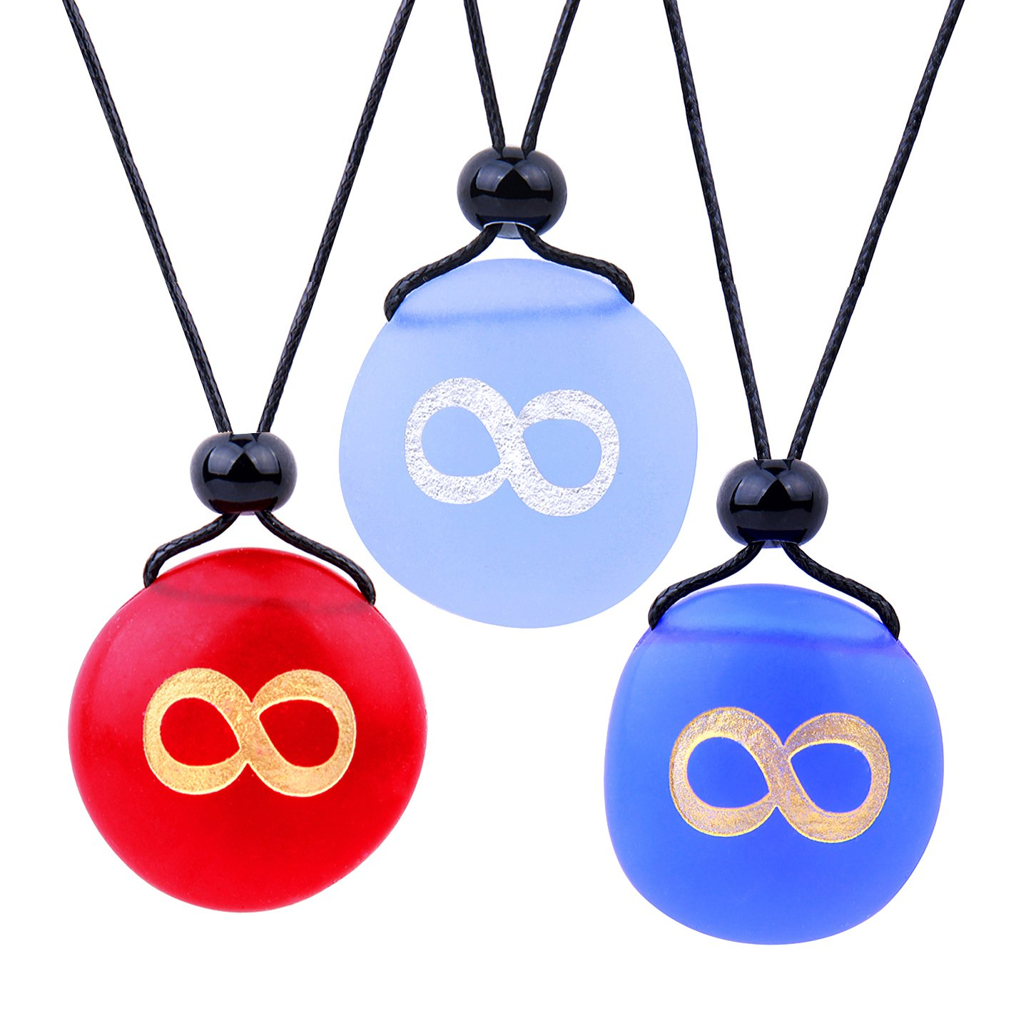 Frosted Sea Glass Stones Infinity Eternity Energy Best Friends BFF Amulets Royal Sky Blue Red Necklaces