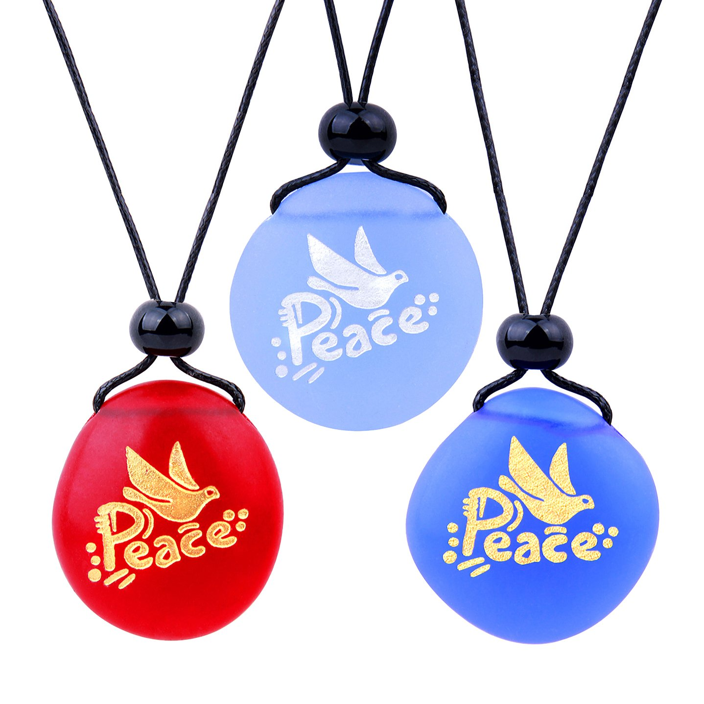 Frosted Sea Glass Stones Adorable Dove Peace Pigeon Best Friends BFF Amulets Royal Sky Blue Red Necklaces