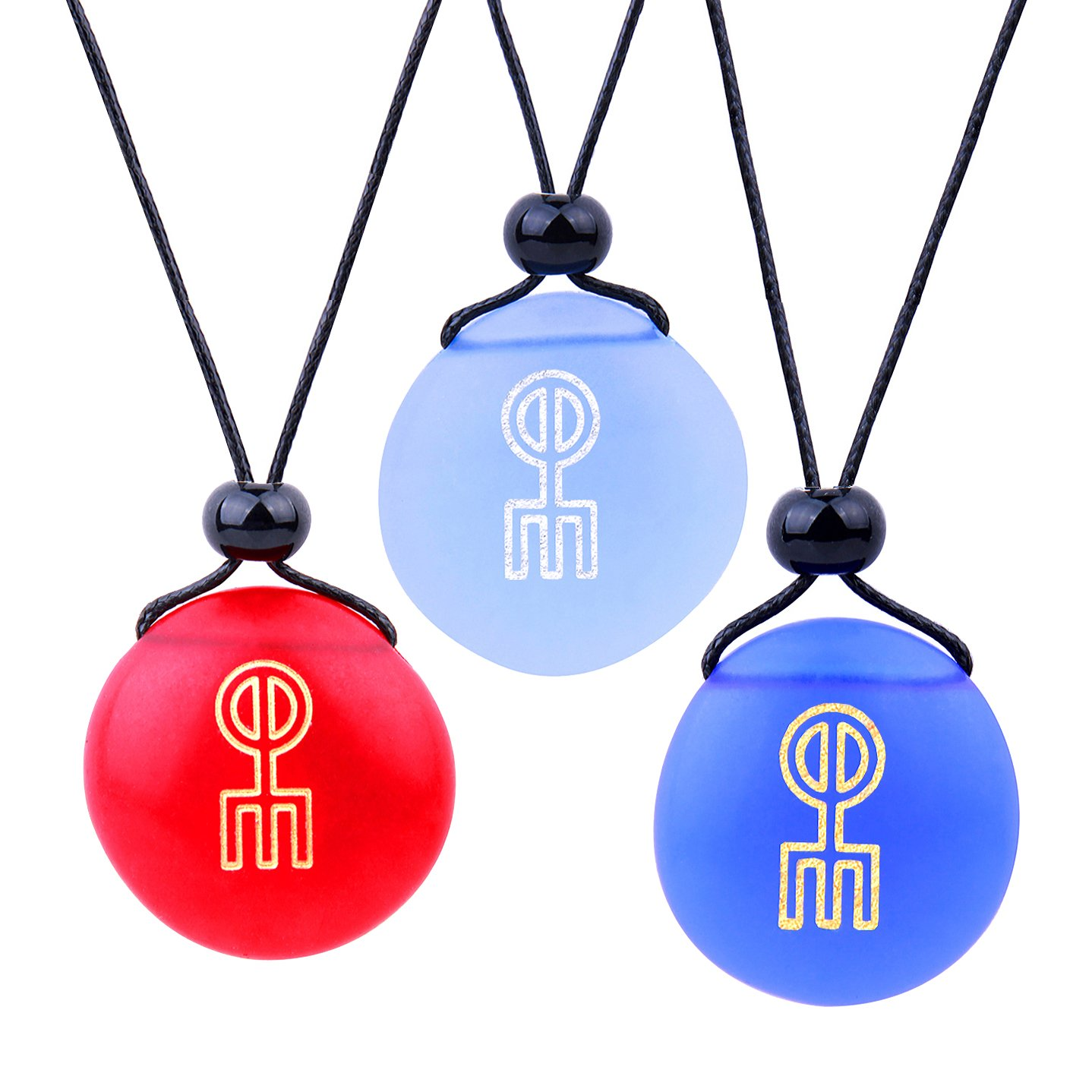 Frosted Sea Glass Stones Norse Rune Love Spell Best Friends BFF Set Amulets Royal Sky Blue Red Necklaces