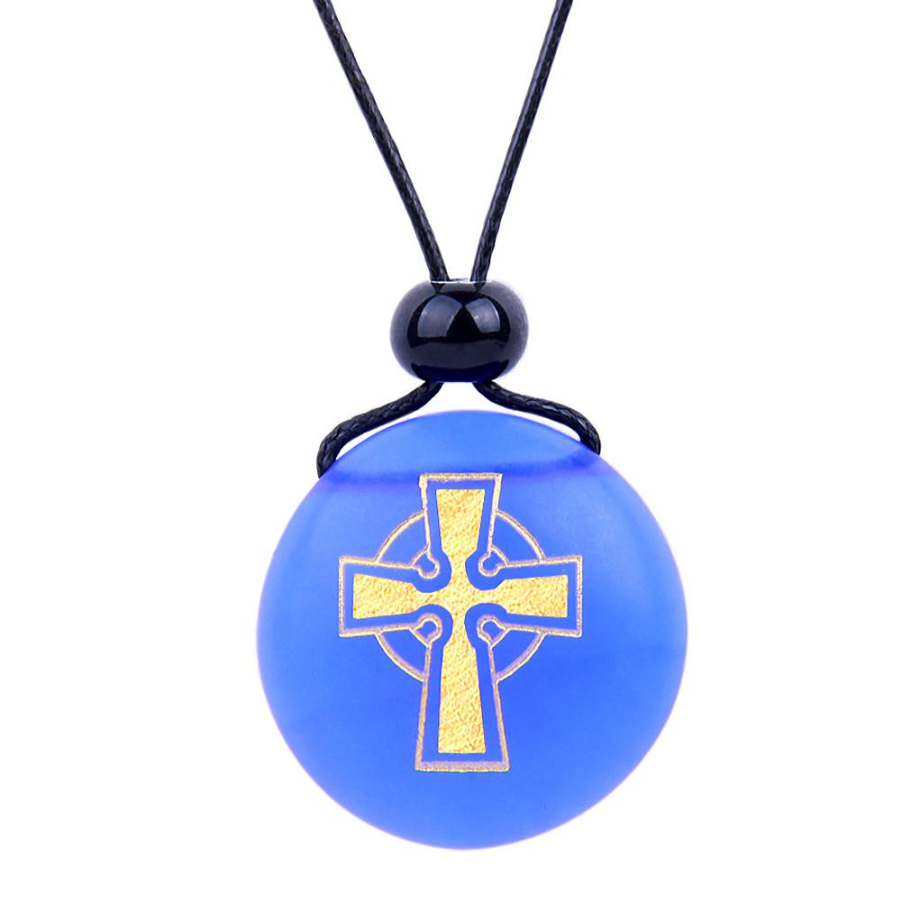 Amulet Frosted Sea Glass Stone Ancient Viking Celtic Cross Good Luck Power Royal Blue Adjustable Necklace