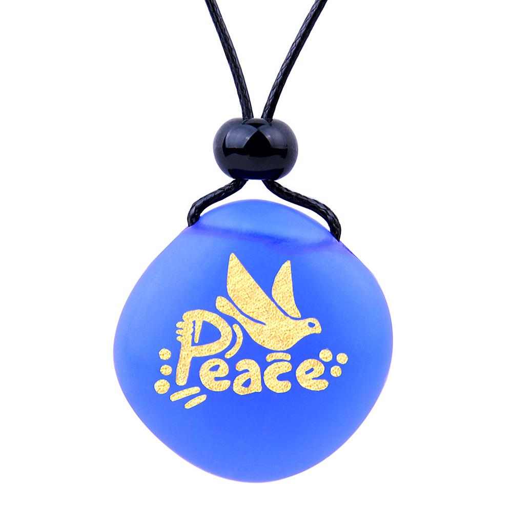 Amulet Frosted Sea Glass Stone Adorable Dove Peace Pigeon Good Luck Powers Royal Blue Adjustable Necklace