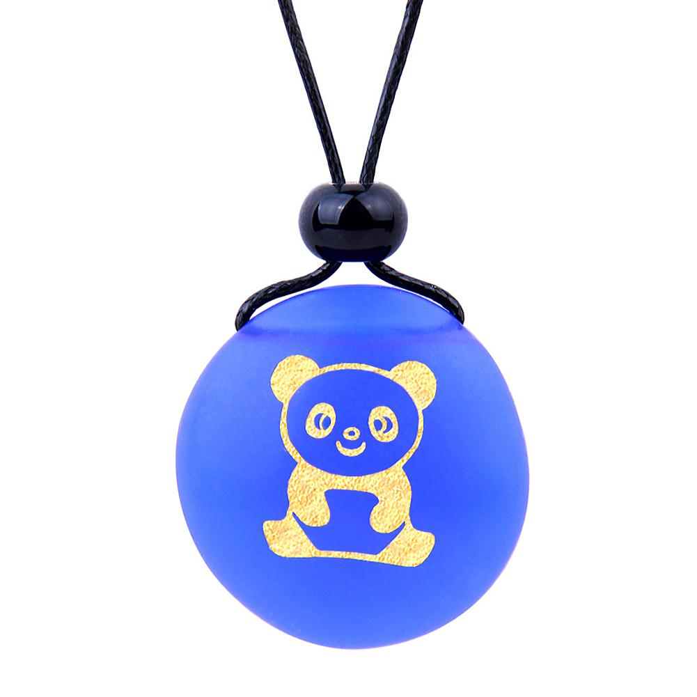 Amulet Frosted Sea Glass Stone Cute Lucky Baby Panda Bear Good Luck Powers Royal Blue Adjustable Necklace