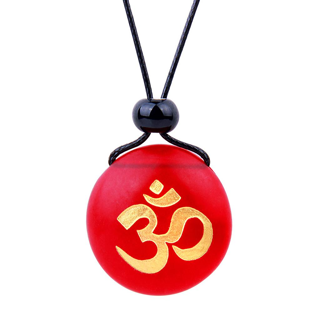 Amulet Frosted Sea Glass Stone Ancient Tibetan Om Ohm Good Luck Powers Royal Red Adjustable Necklace
