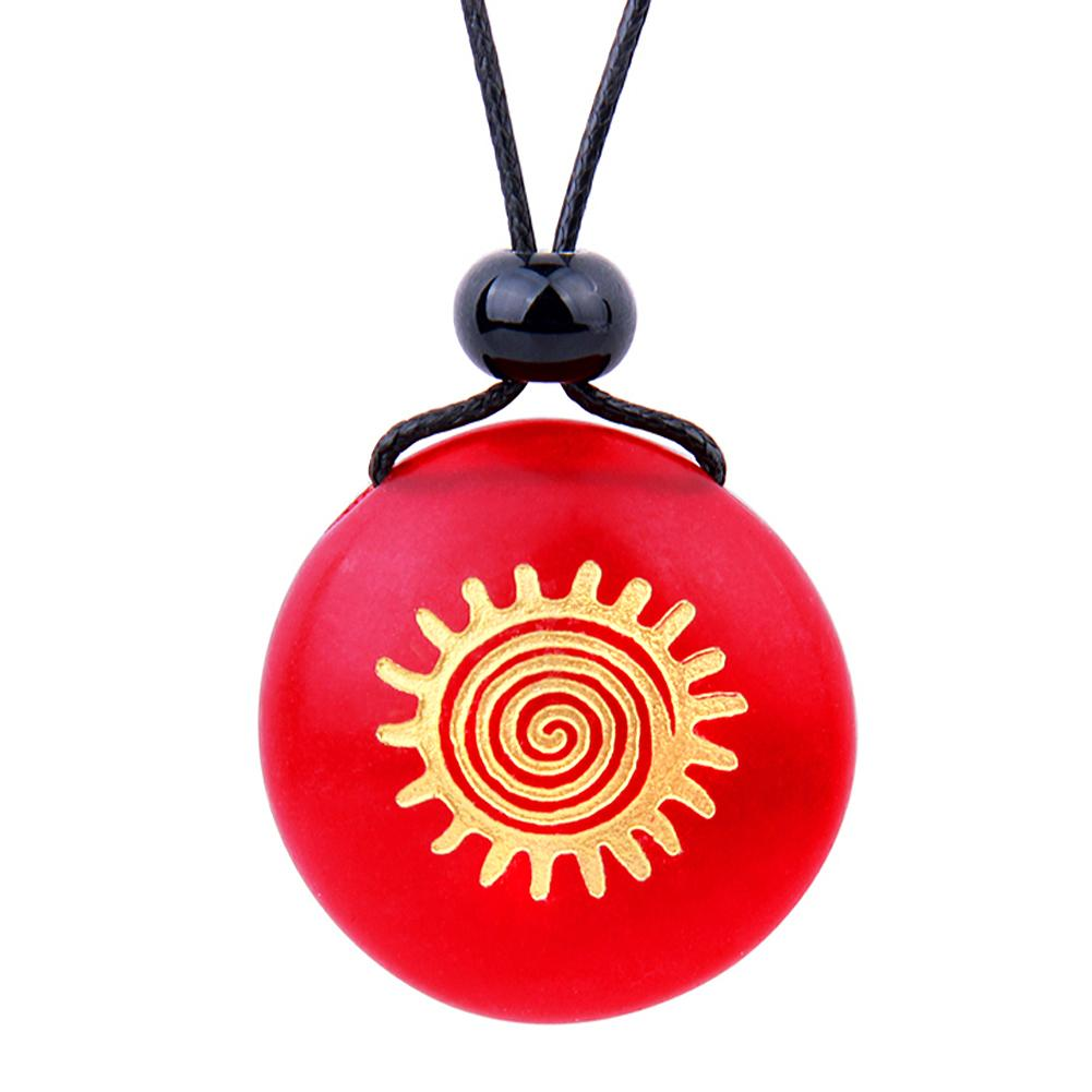 Amulet Frosted Sea Glass Stone Positive Magic Energy Sun Good Luck Powers Royal Red Adjustable Necklace