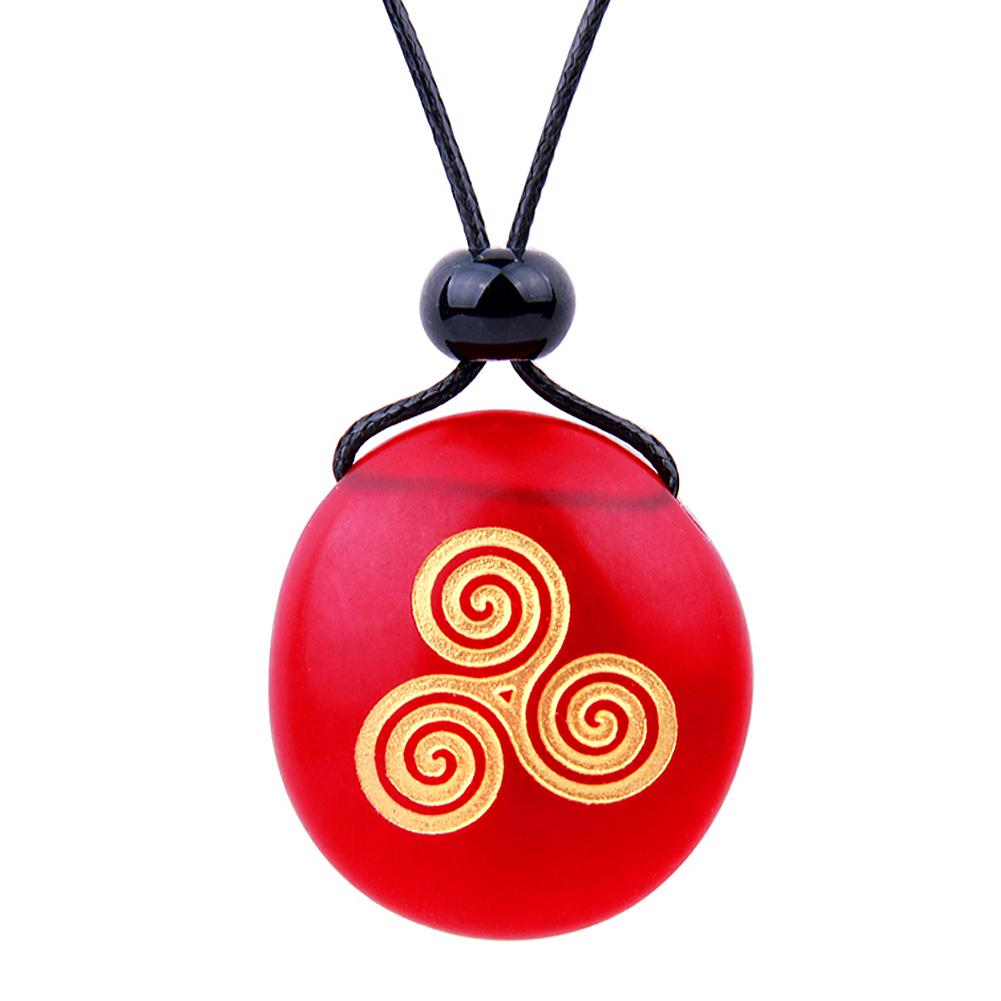 Amulet Frosted Sea Glass Stone Spirit of Life Goddess Knot Good Luck Powers Royal Red Adjustable Necklace