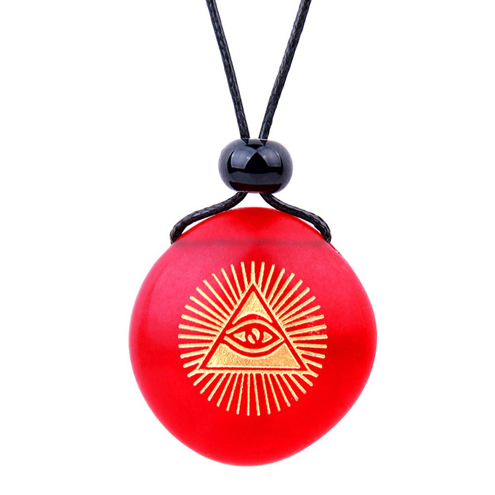 Amulet Frosted Sea Glass Stone Magic All Seeing Eye of God Good Luck Powers Royal Red Adjustable Necklace