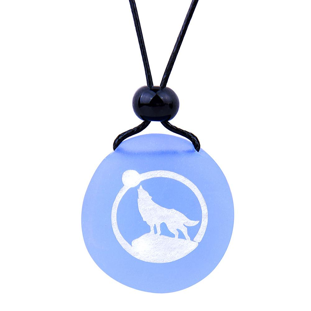 Amulet Frosted Sea Glass Stone Howling Wolf and Moon Good Luck Powers Sky Blue Adjustable Necklace