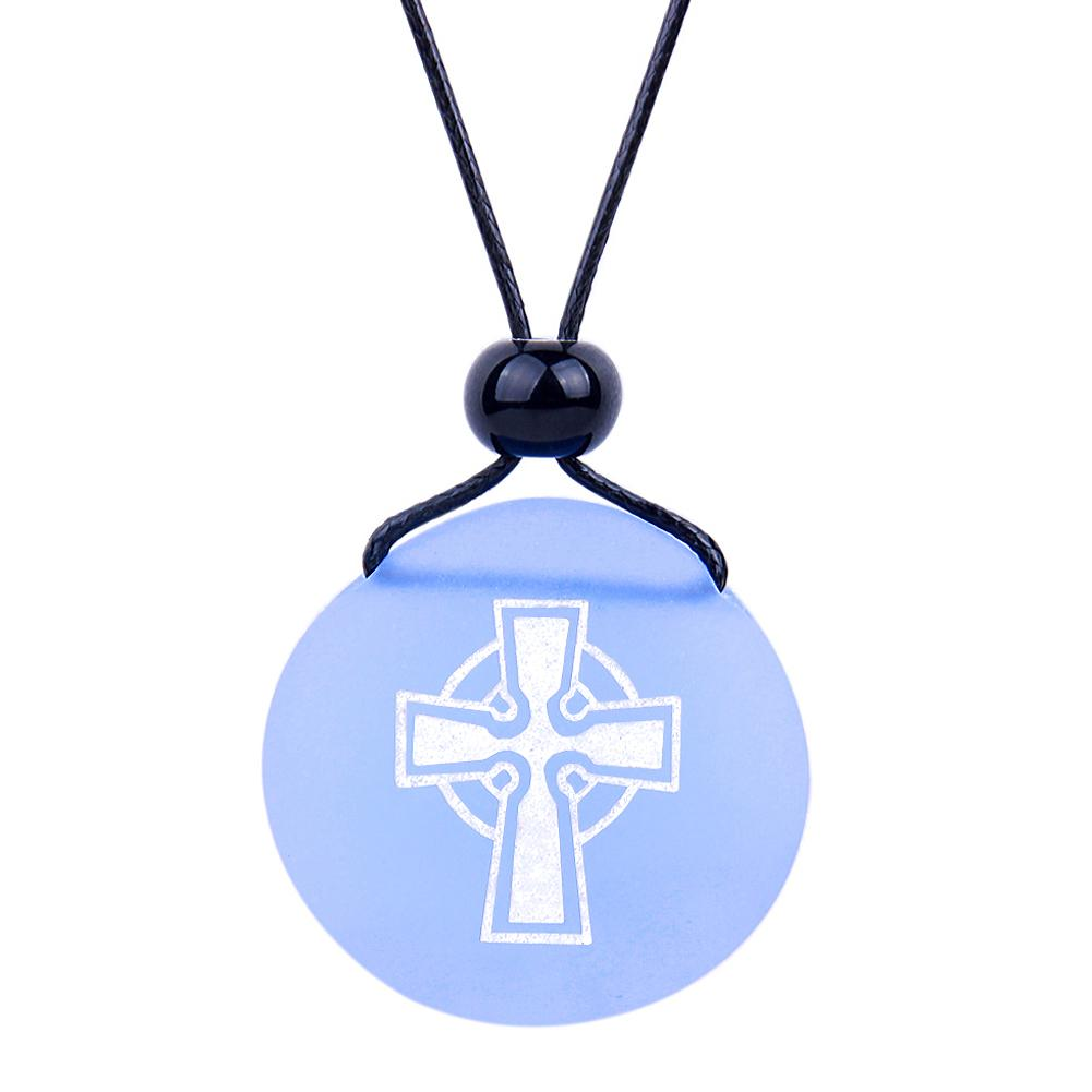 Amulet Frosted Sea Glass Stone Ancient Viking Celtic Cross Good Luck Powers Sky Blue Adjustable Necklace