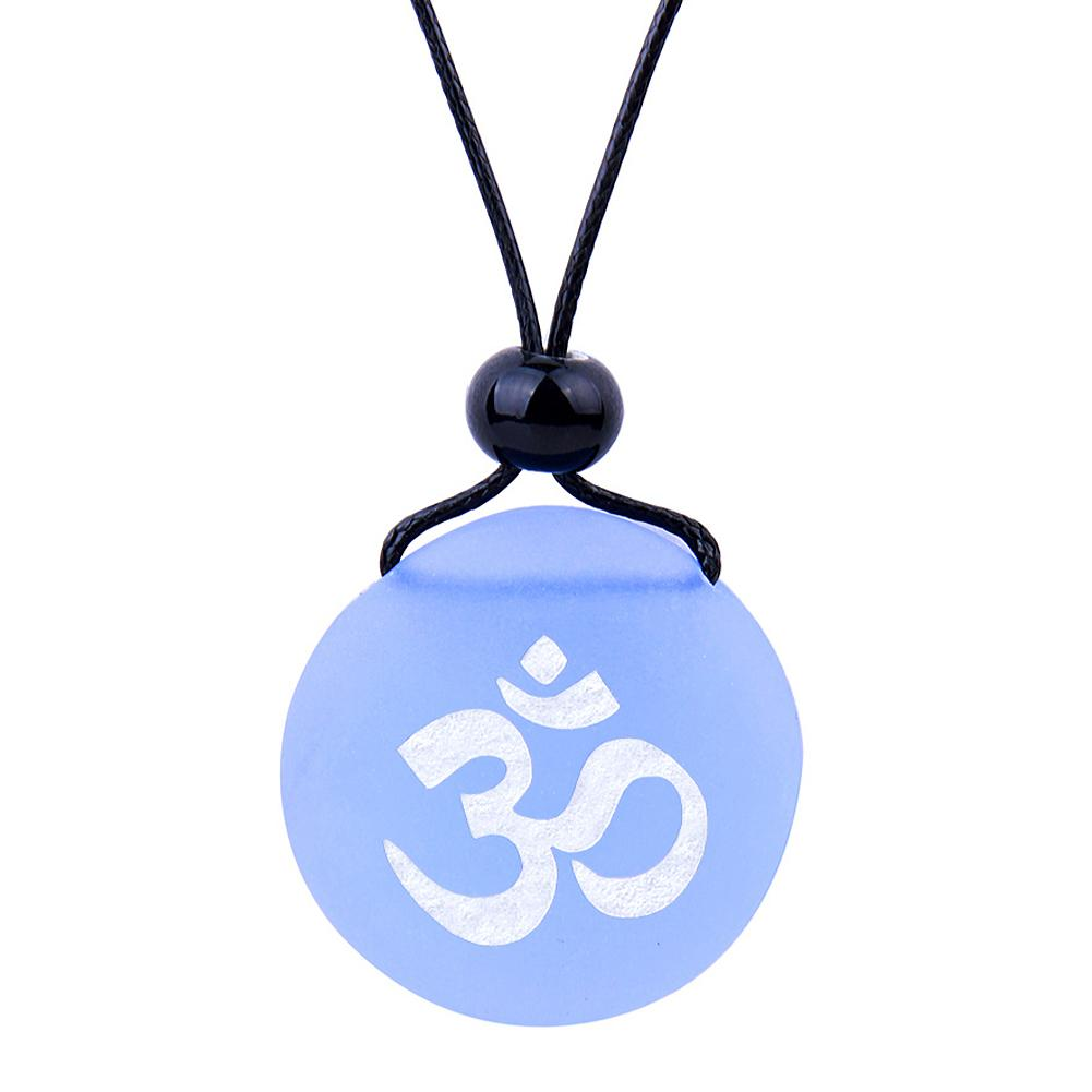 Amulet Frosted Sea Glass Stone Ancient Tibetan Om Ohm Good Luck Powers Sky Blue Adjustable Necklace