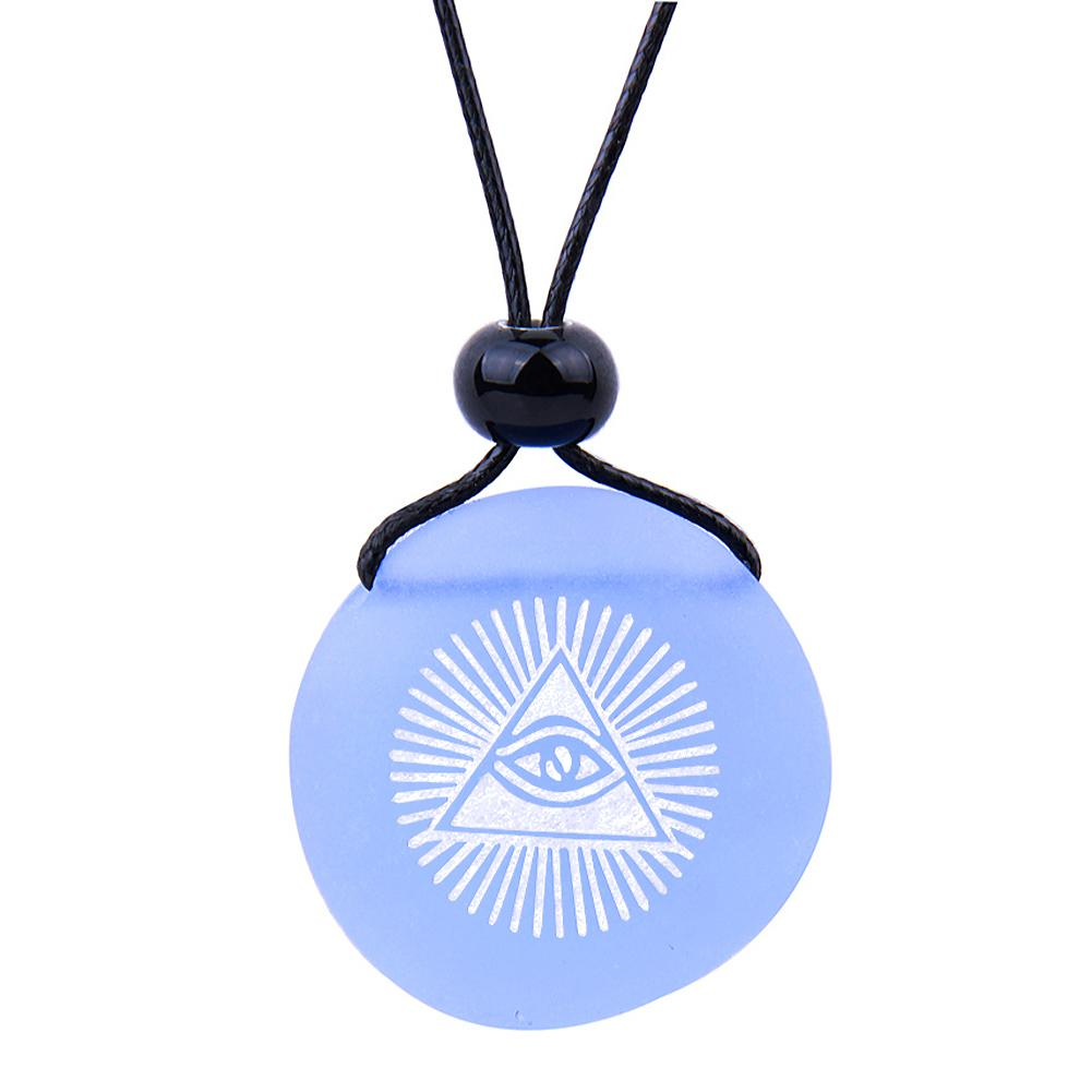 Amulet Frosted Sea Glass Stone Magic All Seeing Eye of God Good Luck Powers Sky Blue Adjustable Necklace