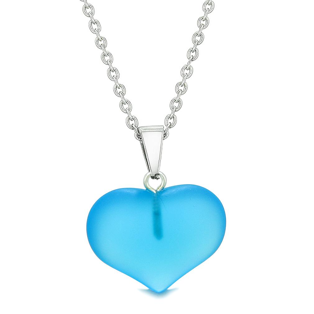Cute Puffy Heart Sea Glass Positive Energy and Love Powers Amulet Sky Blue Charm 22 Inch Necklace