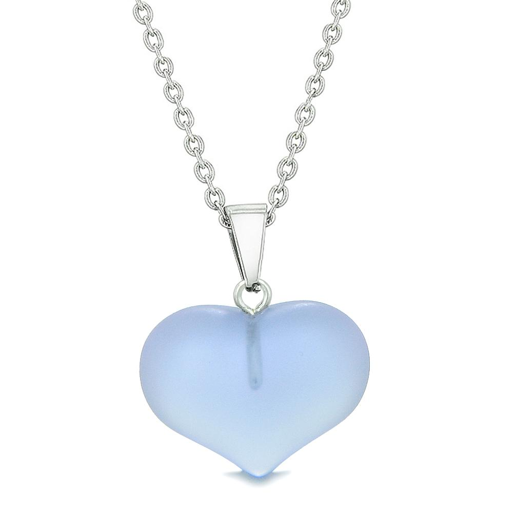 Cute Puffy Heart Sea Glass Positive Energy and Love Powers Amulet Purple Charm 18 Inch Necklace