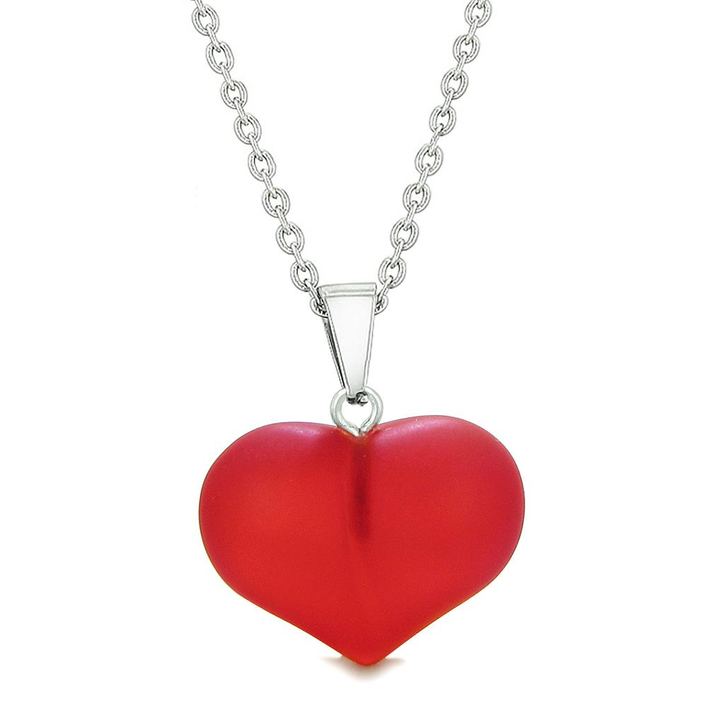 Cute Puffy Heart Sea Glass Positive Energy and Love Powers Amulet Cherry Red Charm 18 Inch Necklace