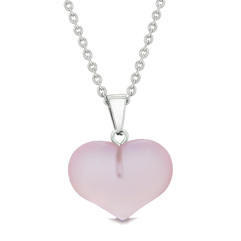 Cute Puffy Heart Sea Glass Positive Energy and Love Powers Amulet Sweet Pink Charm 22 Inch Necklace