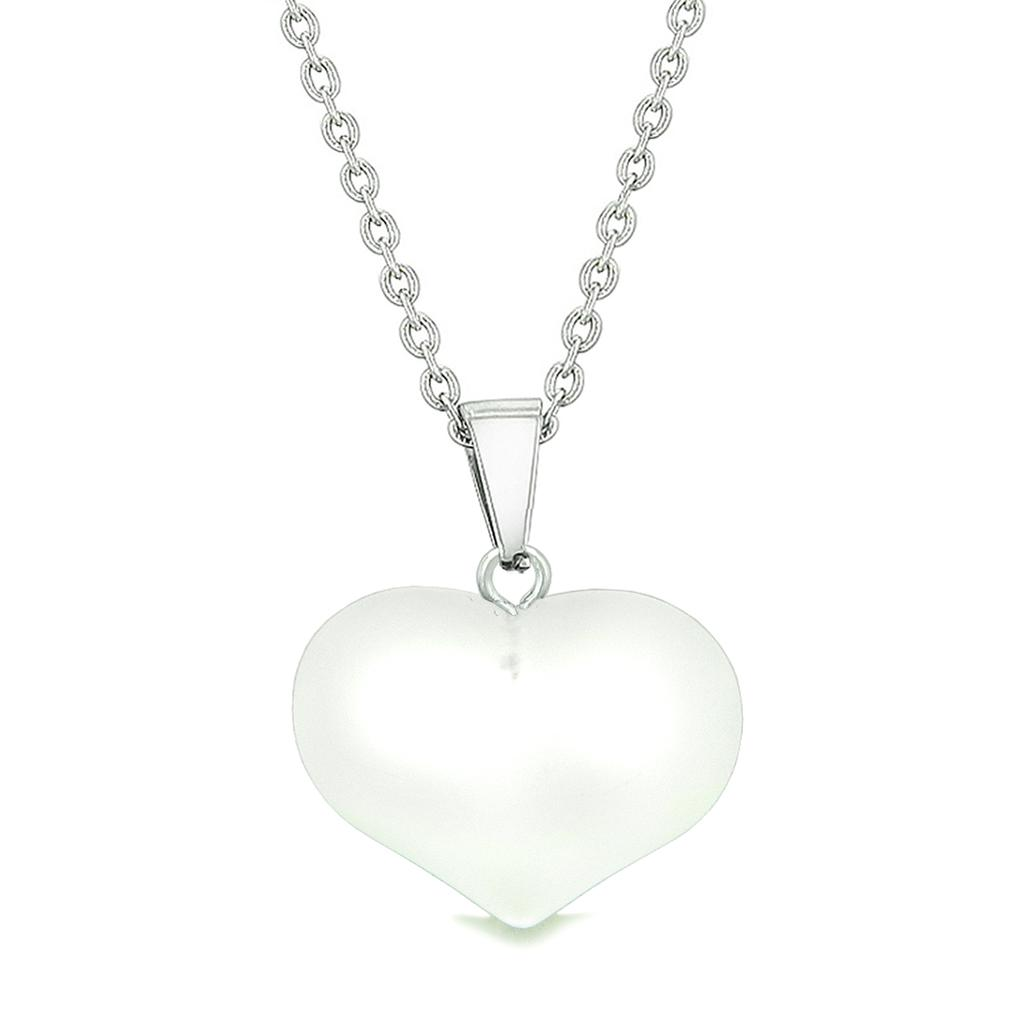 Cute Puffy Heart Sea Glass Positive Energy and Love Powers Amulet Snow White Charm 18 Inch Necklace