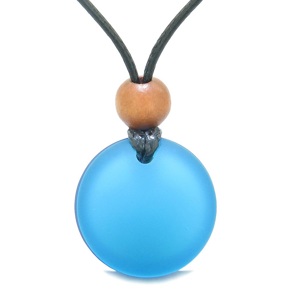 Reversible Full Moon Frosted Sea Glass Ocean and Sky Blue Amulet Good Luck Life Energy Necklace