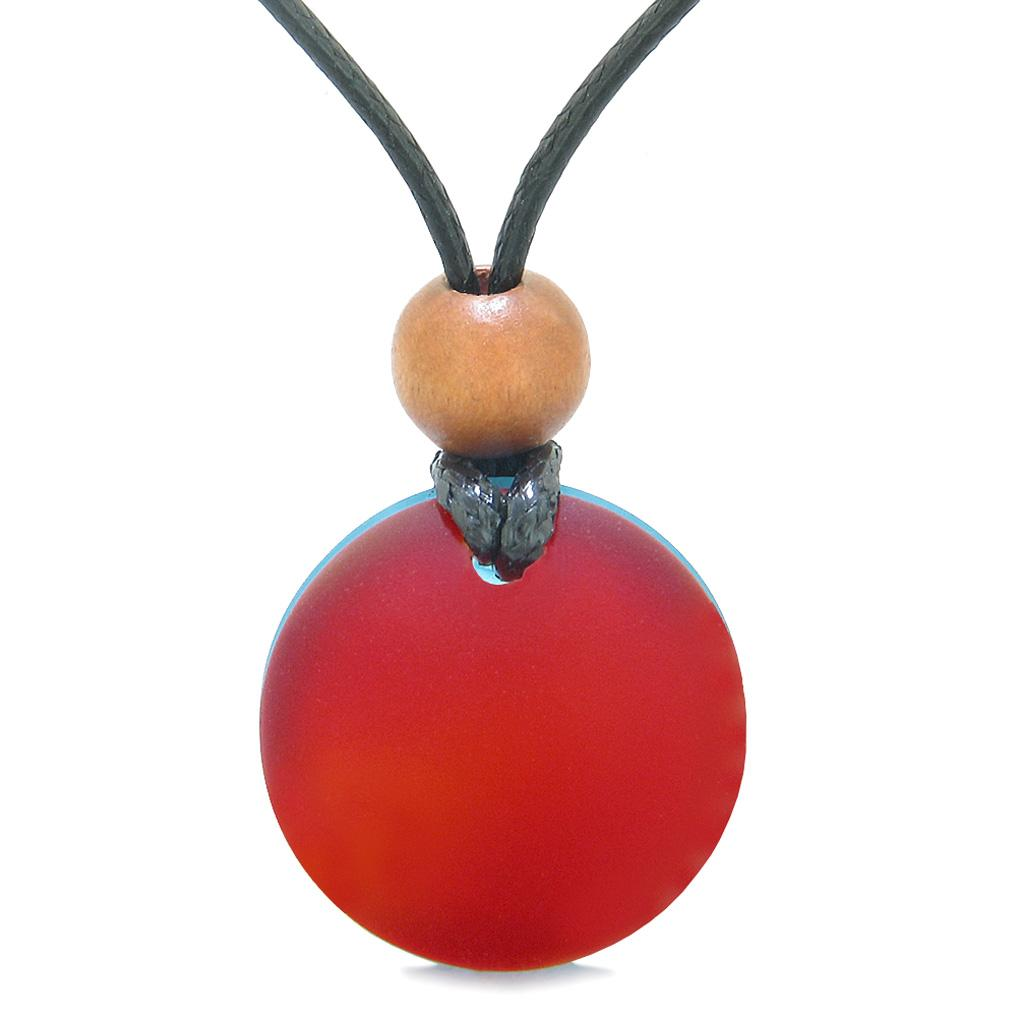 Reversible Full Moon Frosted Sea Glass Sky Blue and Cherry Red Amulet Good Luck Life Energy Necklace
