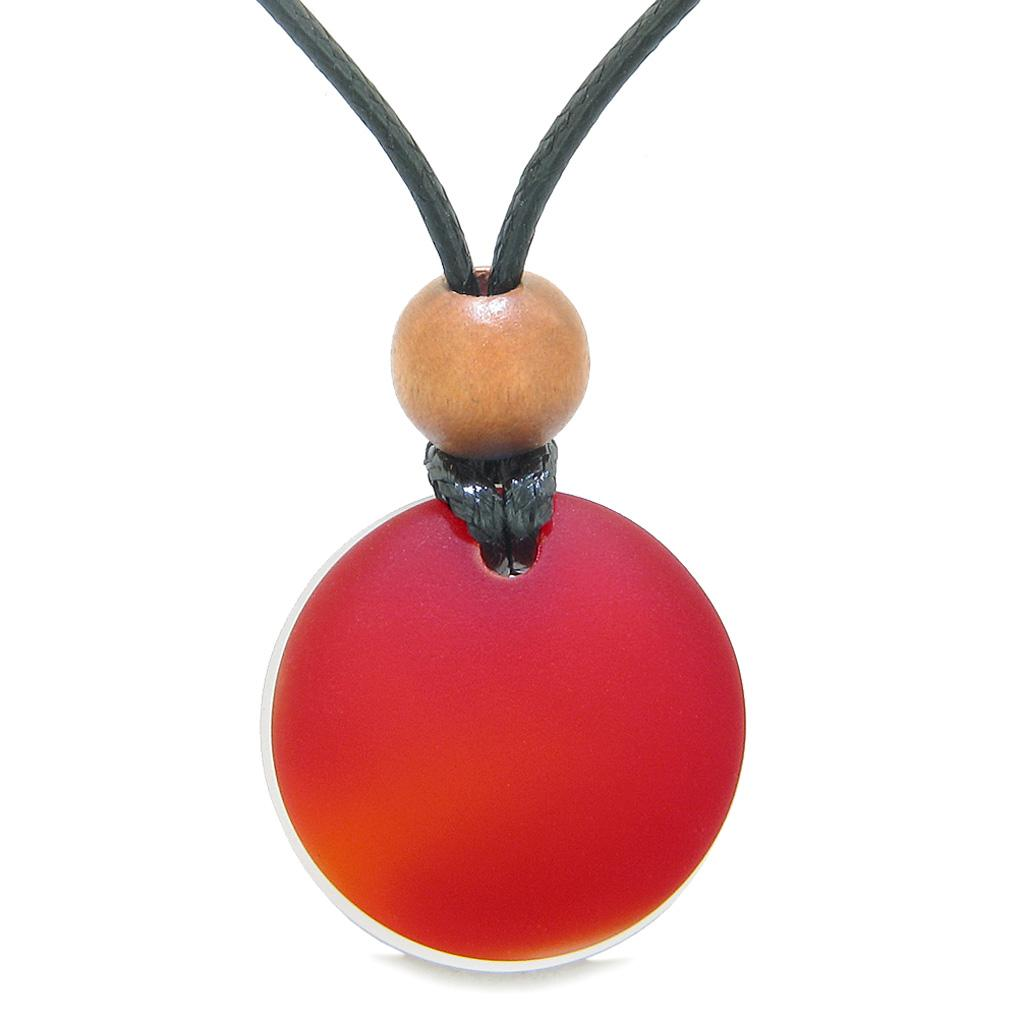 Reversible Full Moon Frosted Sea Glass Cherry Red and Mist White Amulet Good Luck Life Energy Necklace