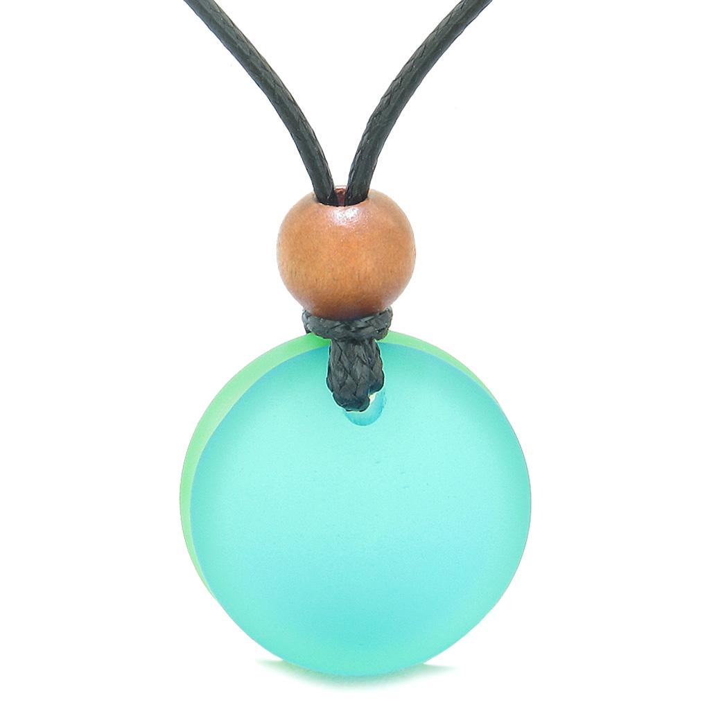 Reversible Full Moon Frosted Sea Glass Neon Green and Sky Blue Amulet Good Luck Life Energy Necklace