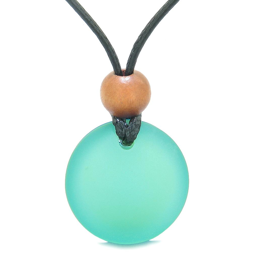 Reversible Full Moon Frosted Sea Glass Sky Blue and Neon Green Amulet Good Luck Life Energy Necklace