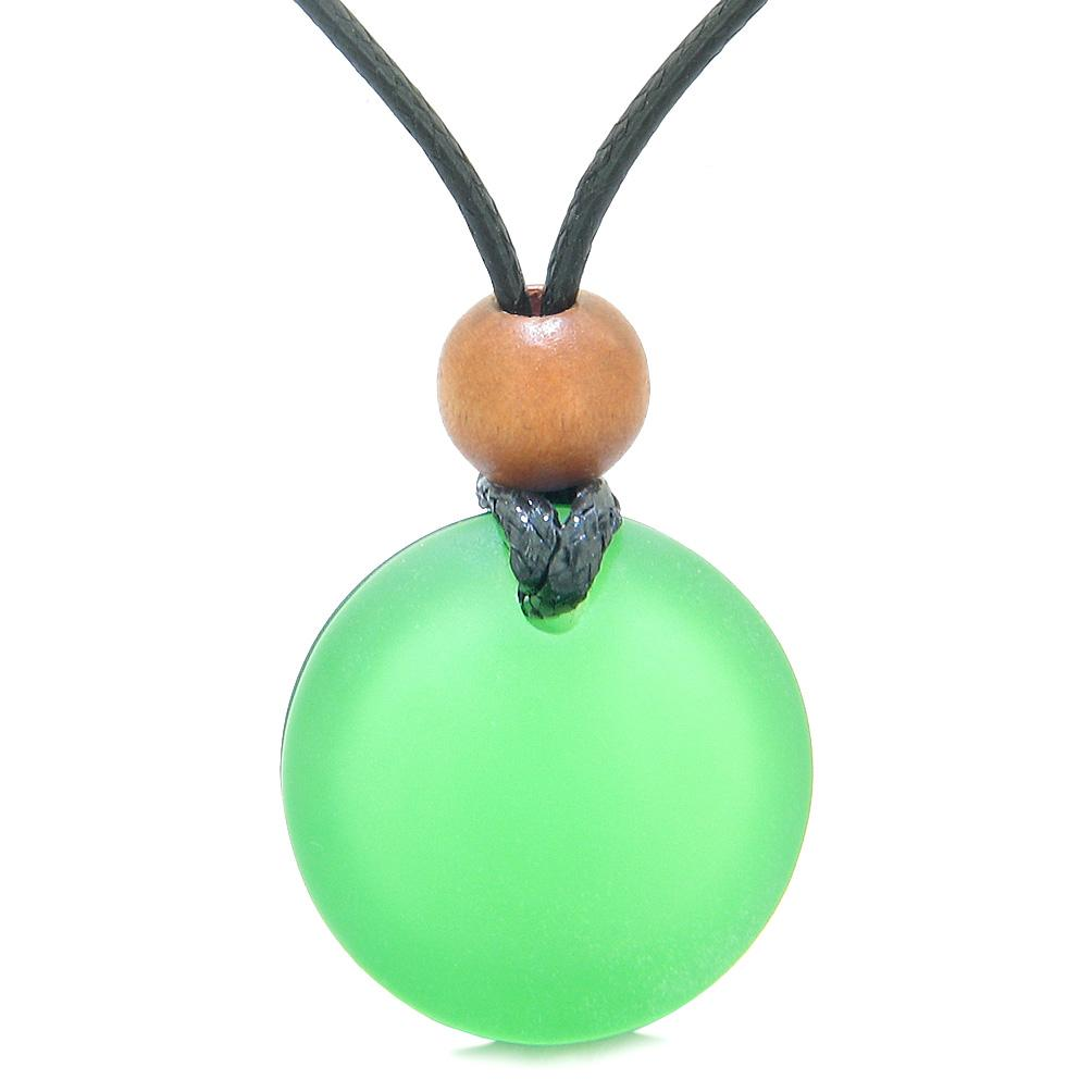 Reversible Full Moon Frosted Sea Glass Neon and Forest Green Amulet Good Luck Life Energy Necklace
