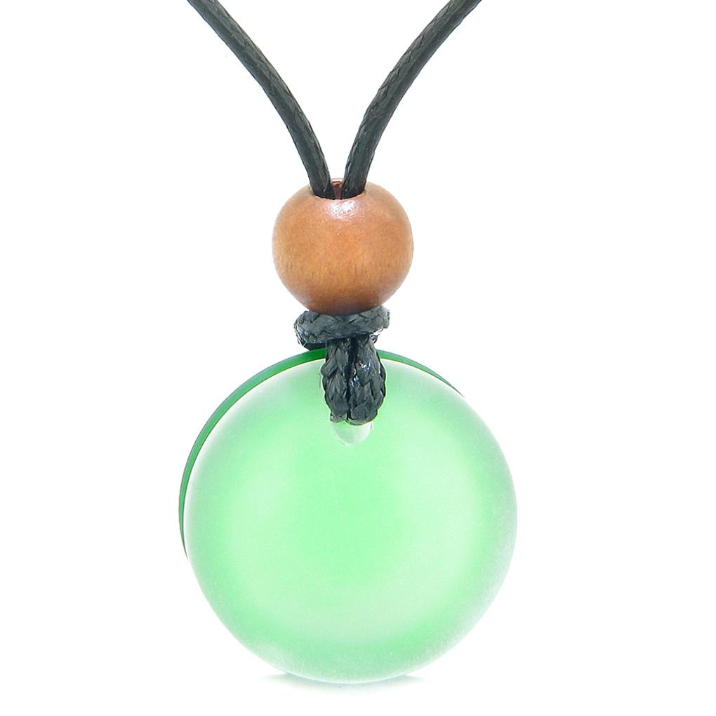 Reversible Full Moon Frosted Sea Glass Mist White and Forest Green Amulet Good Luck Life Energy Necklace