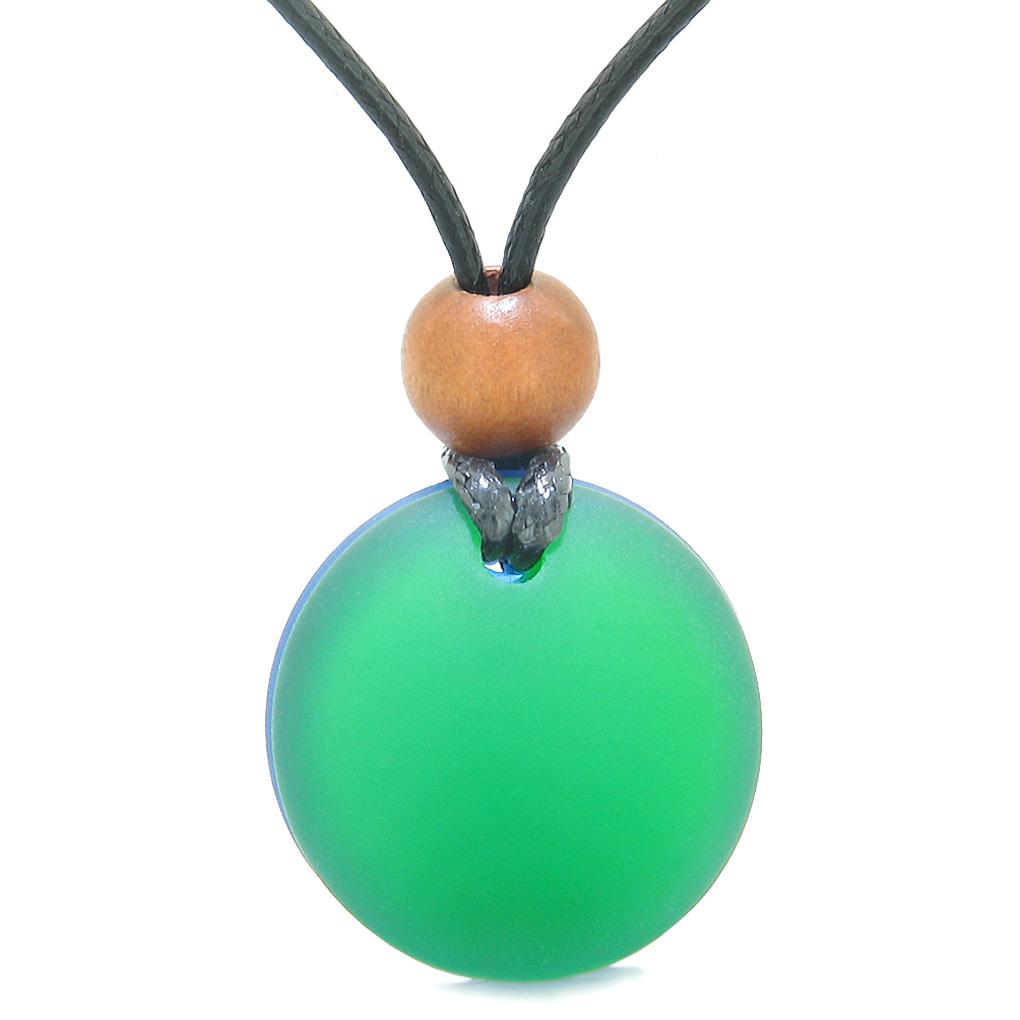 Reversible Full Moon Frosted Sea Glass Forest Green and Ocean Blue Amulet Good Luck Life Energy Necklace