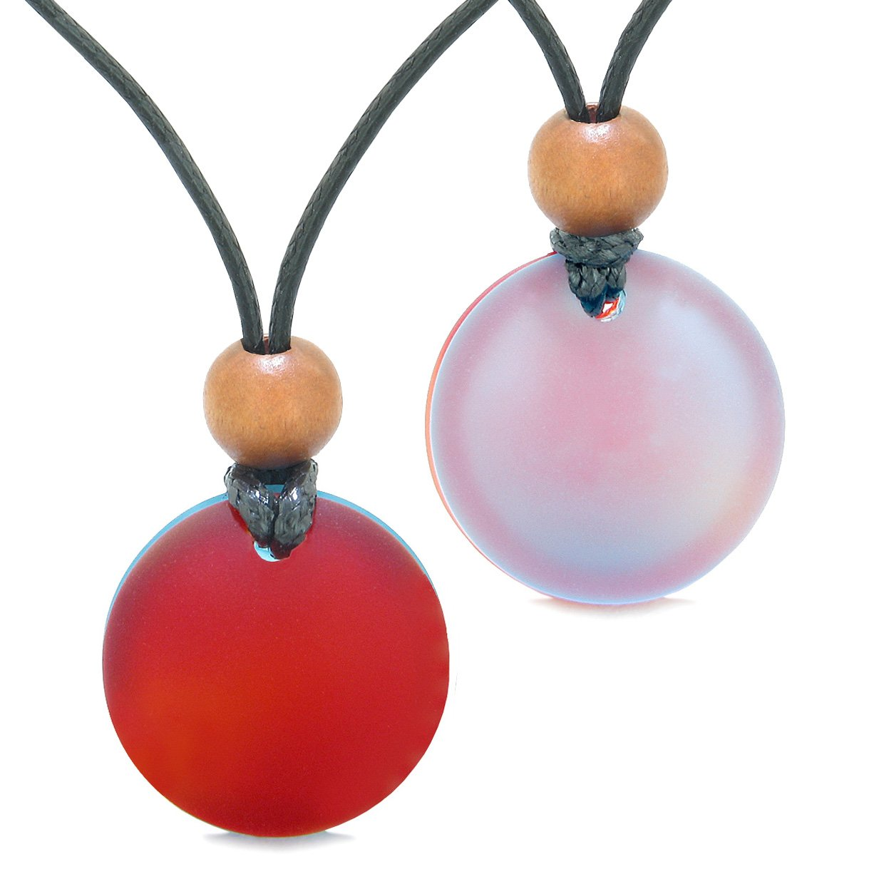 Reversible Full Moon Frosted Sea Glass Sky Blue and Cherry Red Amulets Love Couples or BFF Necklaces
