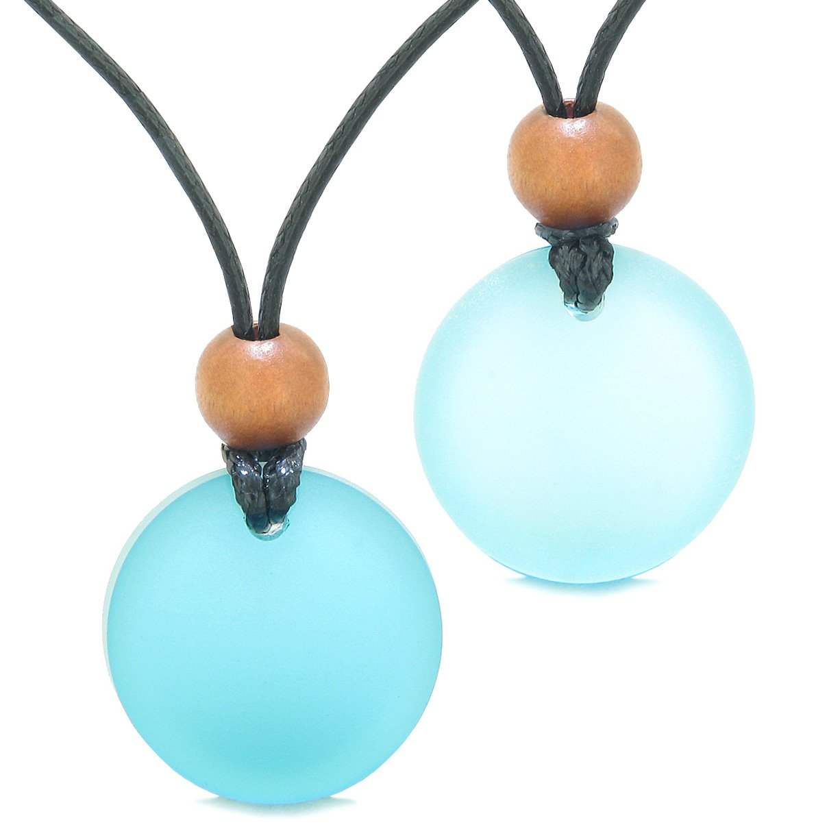 Reversible Full Moon Frosted Sea Glass Sky Blue and Ocean Foam Amulets Love Couples or BFF Necklaces